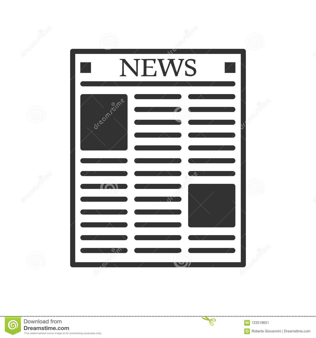 Newspaper Outline Flat Icon On White