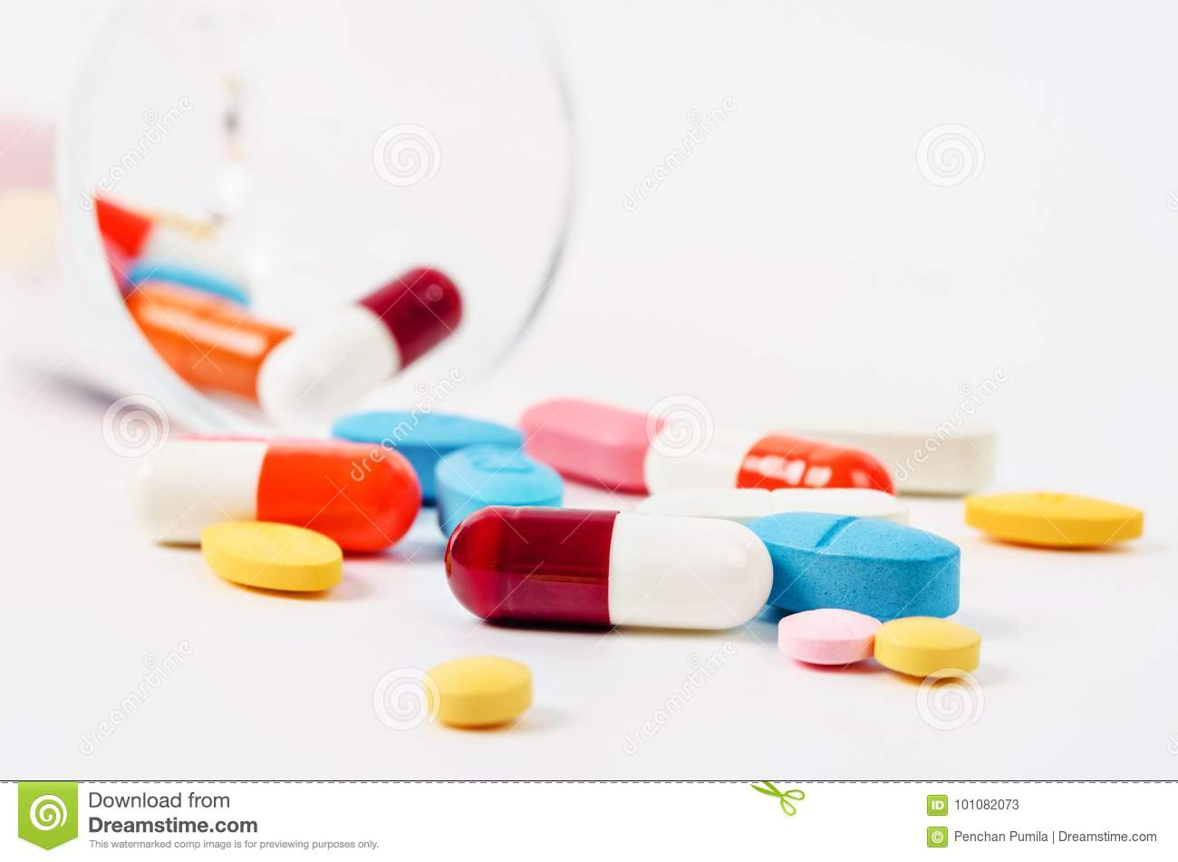 Generic prescription medicine drugs pills and assorted pharmaceutical tablets.
