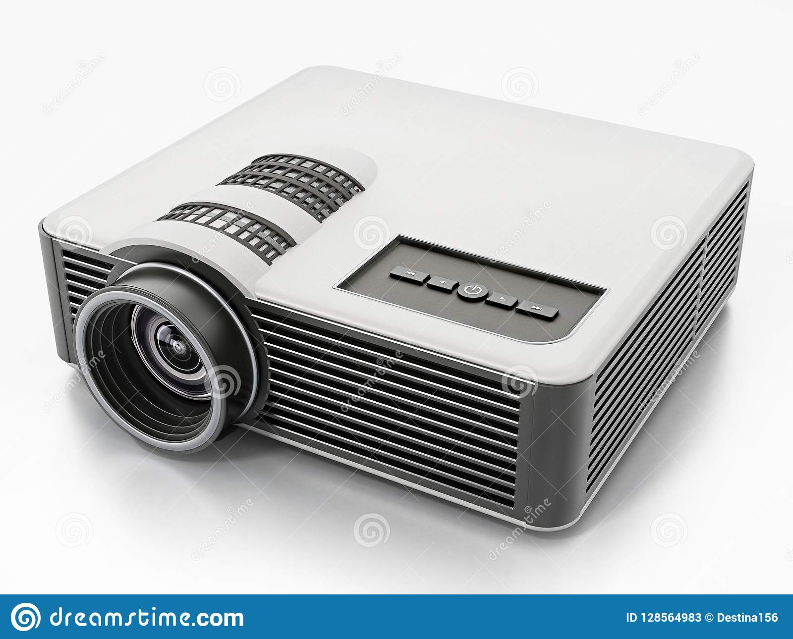 Generic Projector Isolated On White Background  3D Illustration