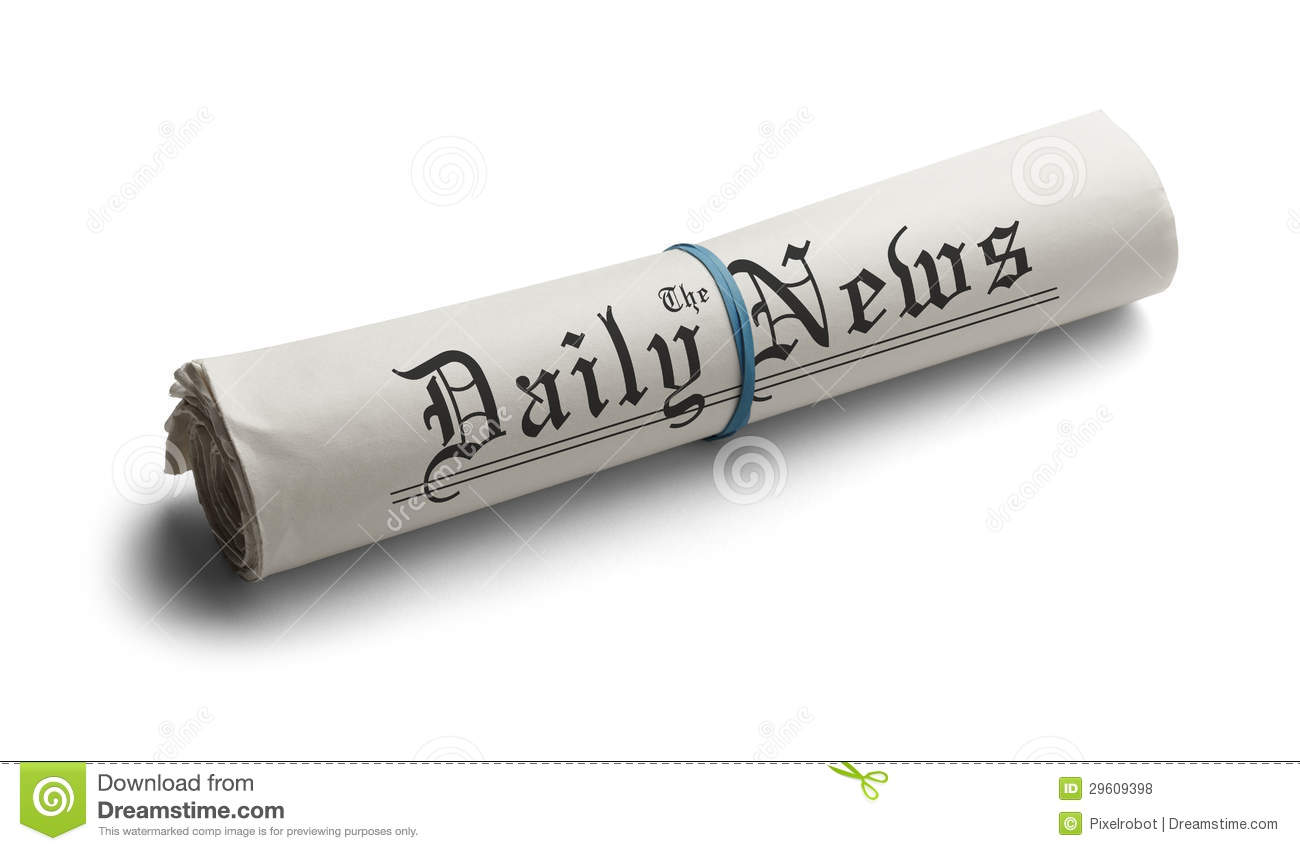 Rolled Up Newspaper with Rubber Band of the Daily News. on a White ...