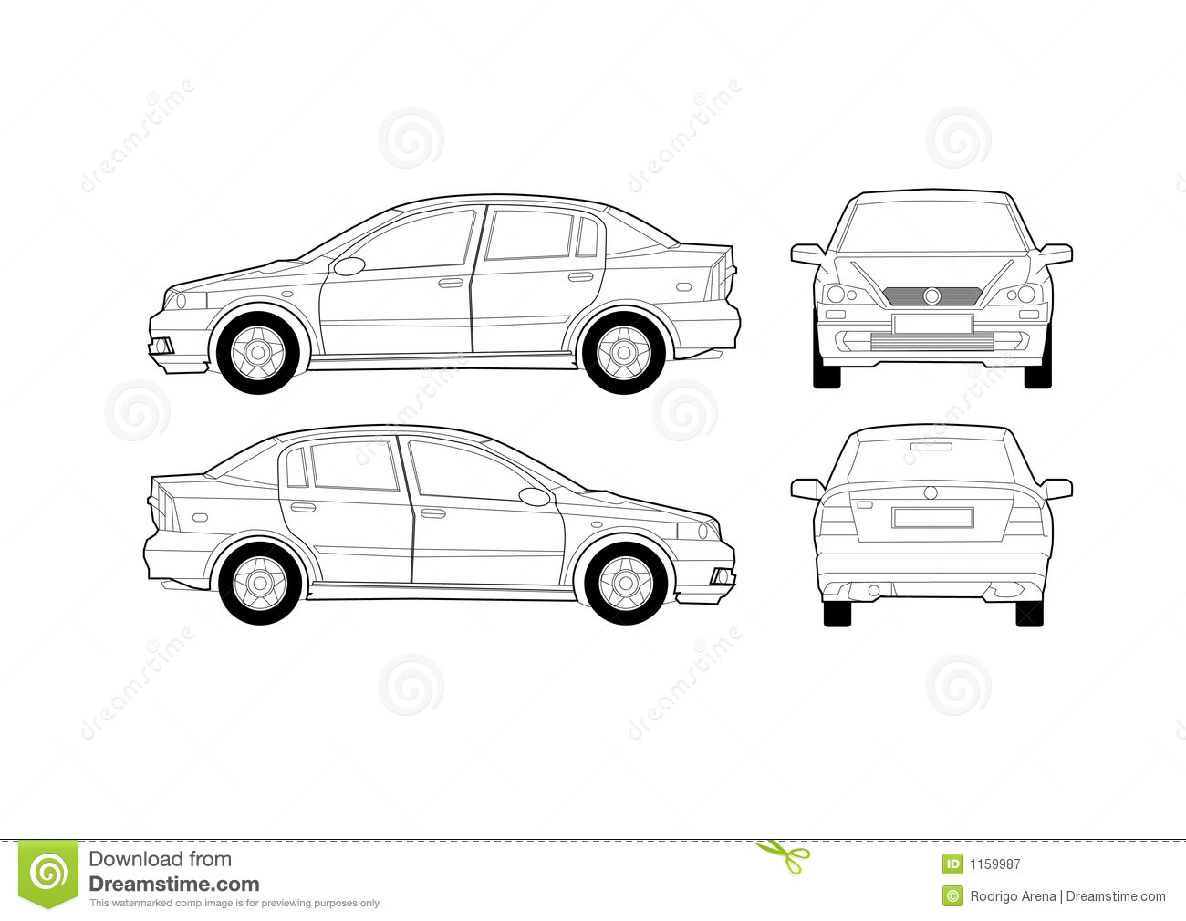 Generic Saloon Car Diagram stock vector. Illustration of carry - 1159987