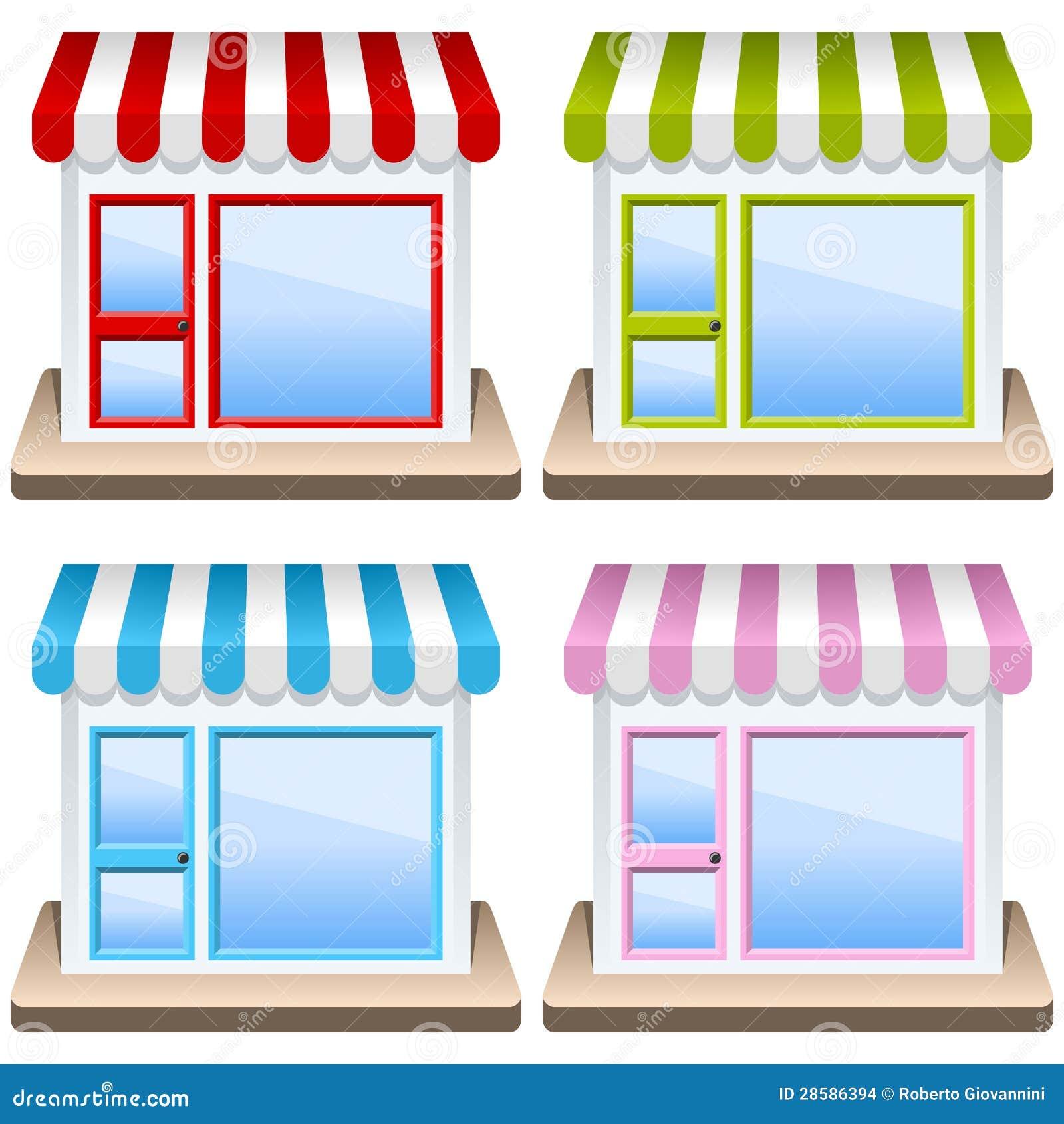 Generic Shop Building Icon Set Stock Images Image 28586394