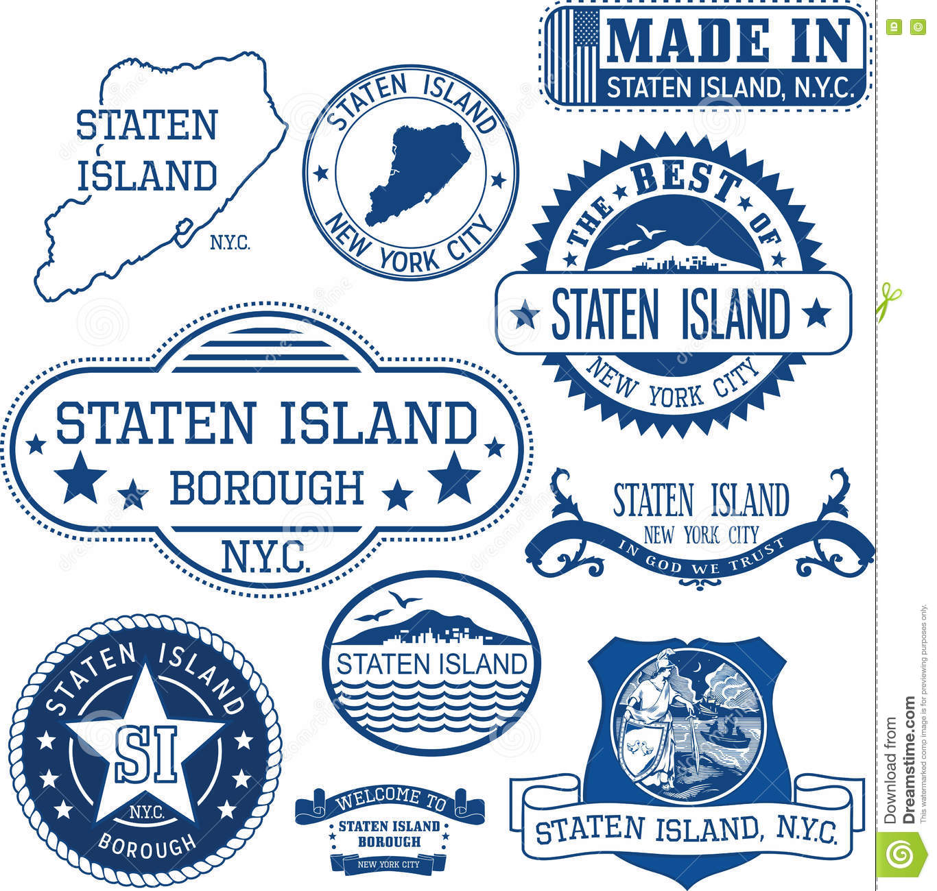 Generic Stamps And Signs Of Staten Island Borough NYC