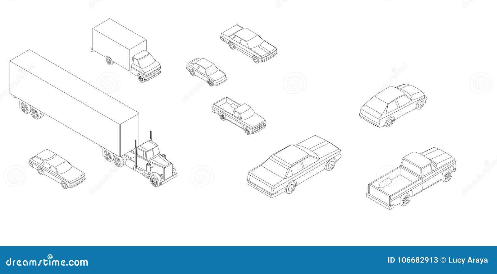 Generische auto s & vrachtwagens isometrische vector