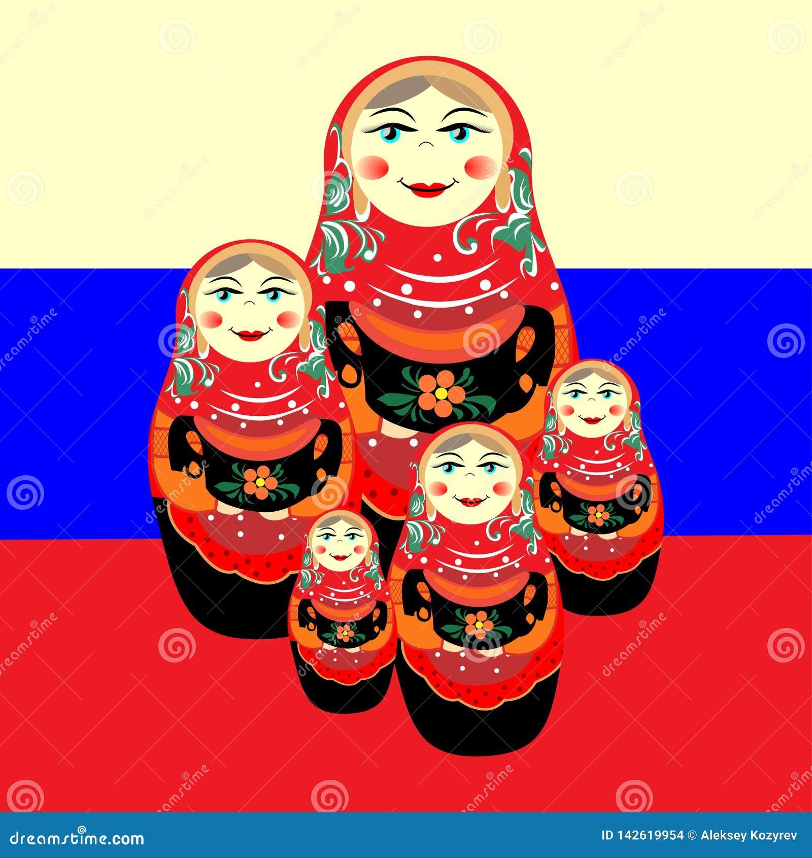 Genestelde pop tegen de Russische vlag