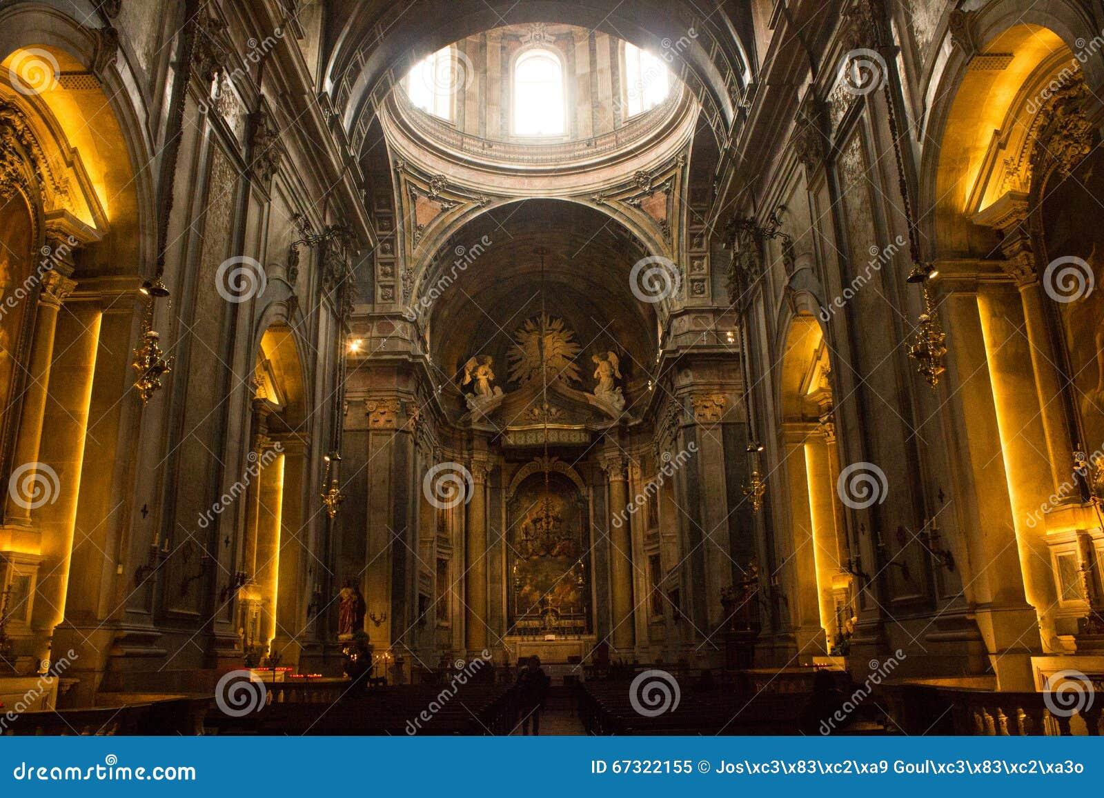Genetal view inside Estrela basilica in Lisbon, Portugal