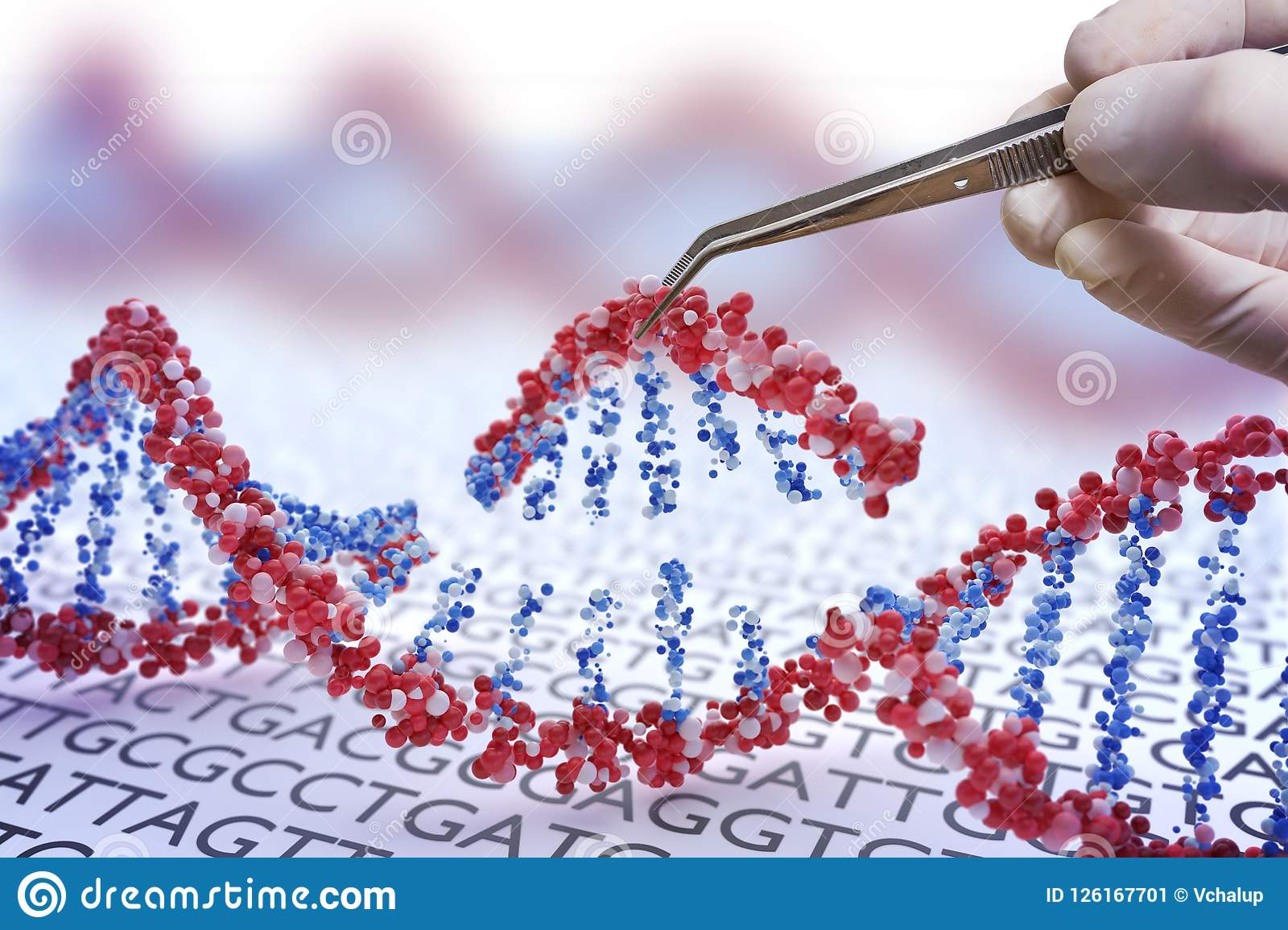 Genetic engineering, GMO and Gene manipulation concept. Hand is inserting sequence of DNA. 3D illustration of DNA