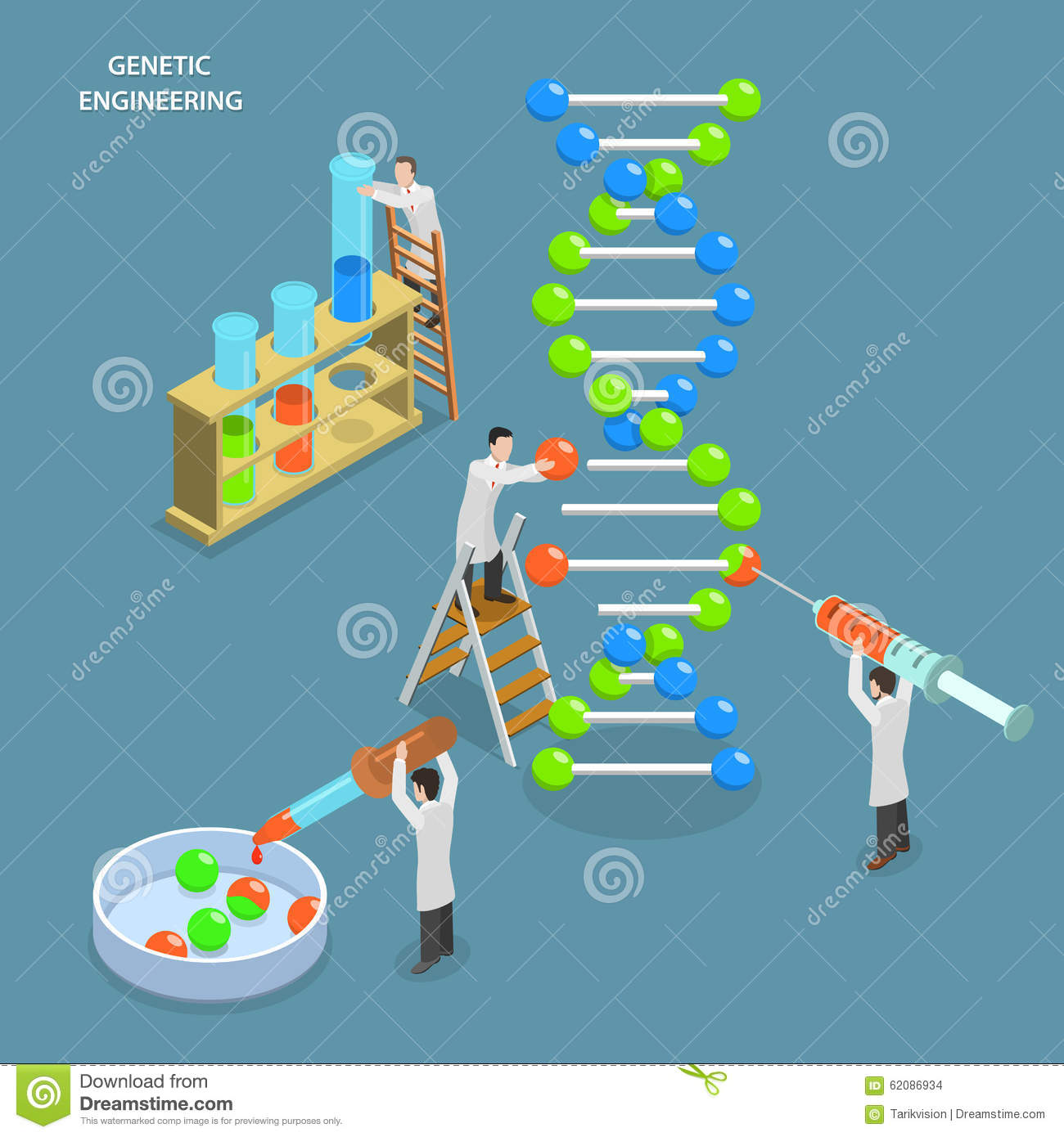 flat vector concept Scientists in laboratory are changing DNA