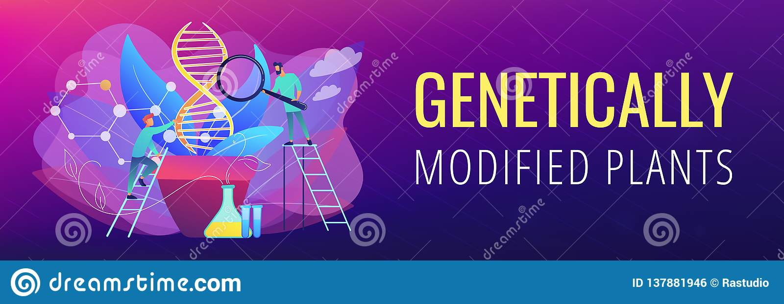 Genetically modified plants concept banner header.