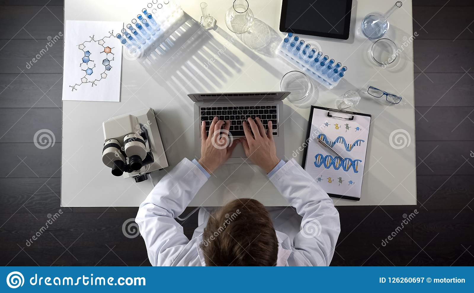 Genetics scientist conducting medical studies of DNA, typing on laptop, top view