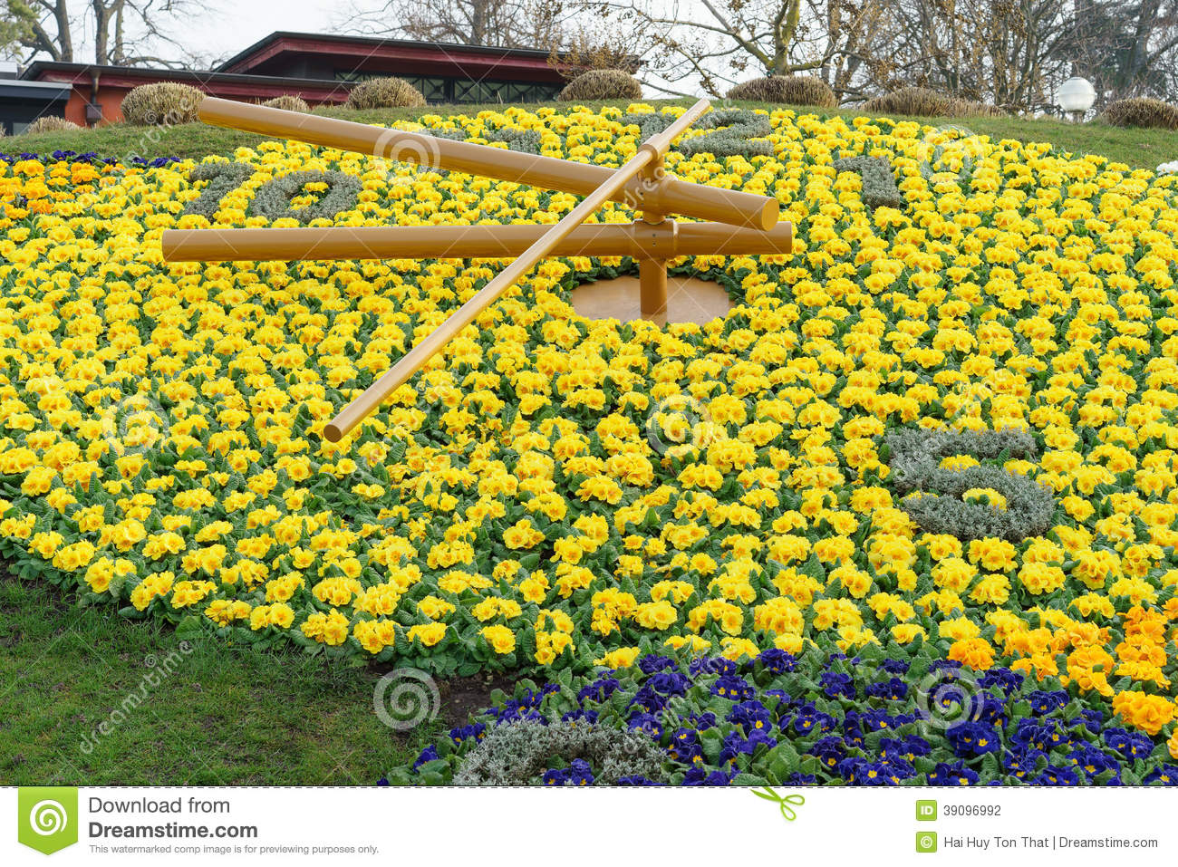Geneva flower clock stock photo image 39096992 for Jardin anglais