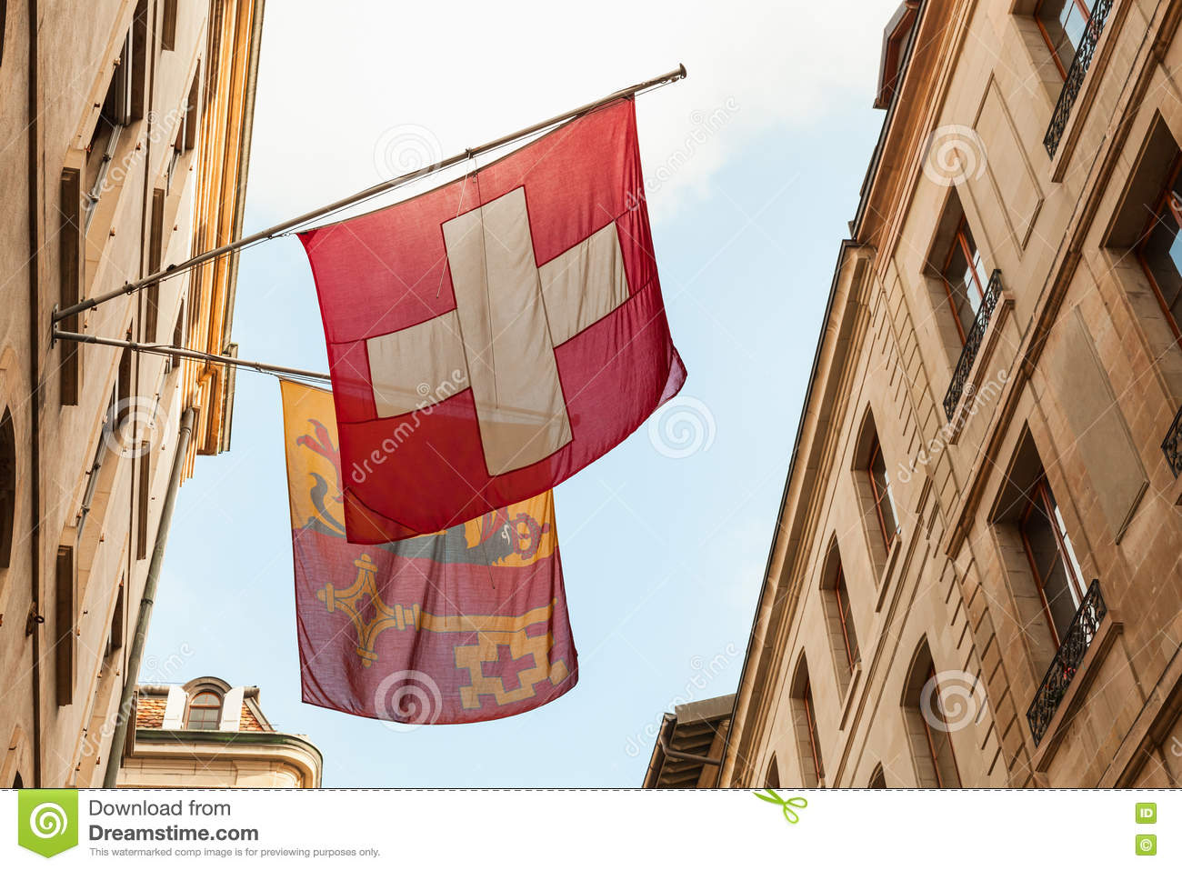 Geneva. Swiss National and City flags