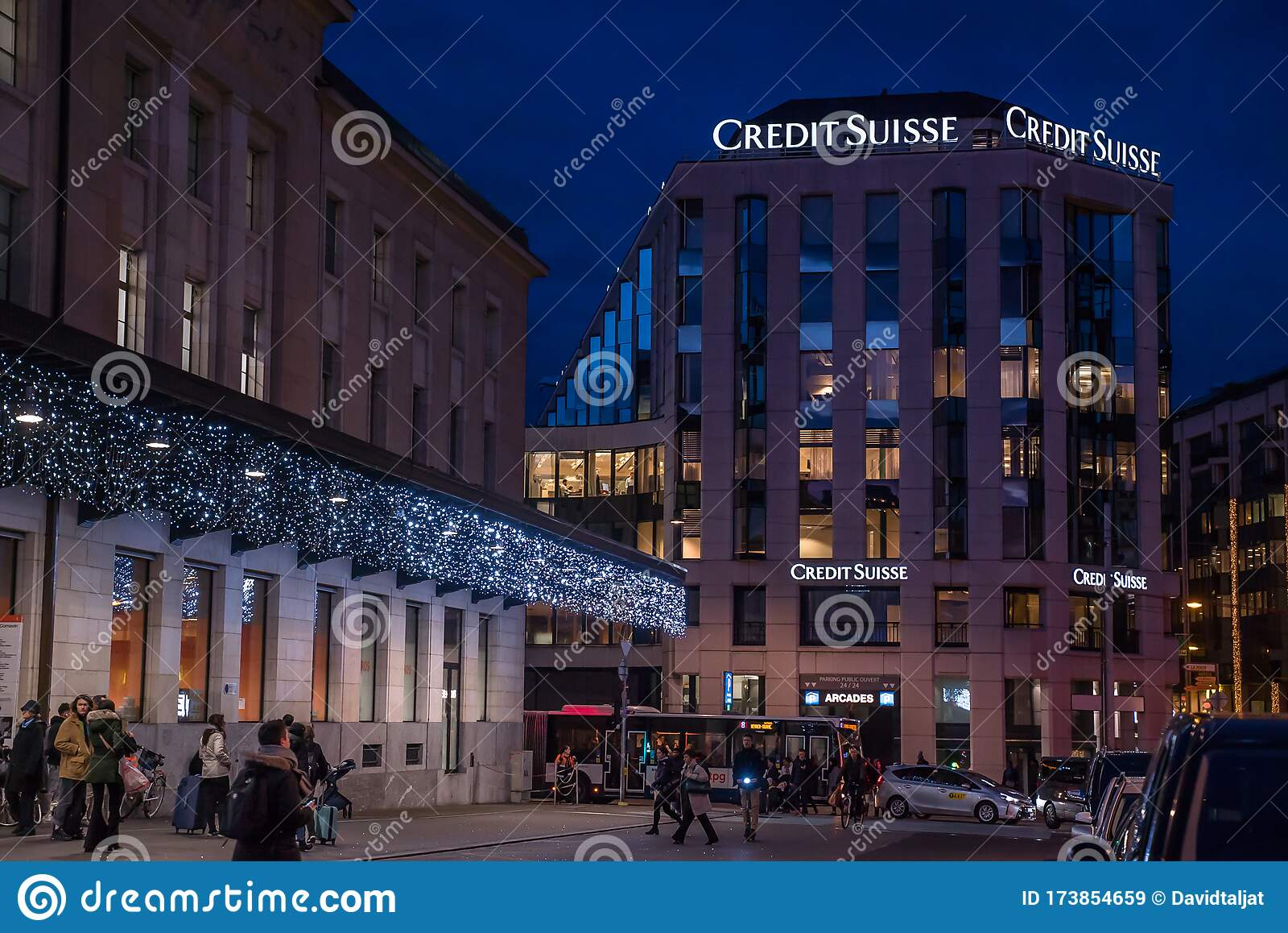 Credit Suisse in Geneva editorial stock image. Image of management ...