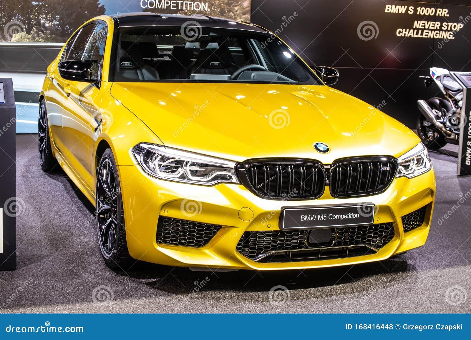 Yellow Bmw M5 Competition Sedan At Geneva International Motor Show F90 M5 Based On G30 5 Series Editorial Stock Photo Image Of Expensive International 168416448