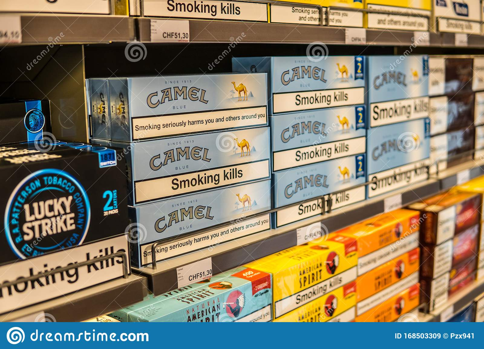 Shelf With Camel Cigarettes Camel Is Brand Owned By Jti Japan Tobacco International Smoking Kills Editorial Stock Image Image Of Japan Closeup 168503309
