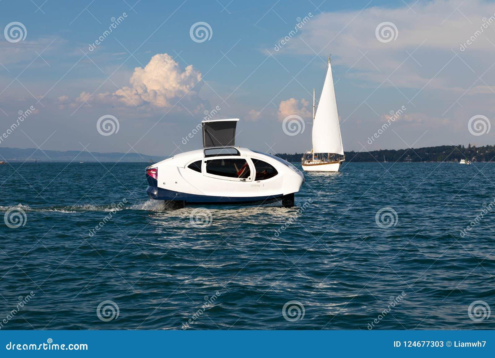 Geneva/Switzerland-28 08 18 : Sea Bubbles Boat Hydrofoil