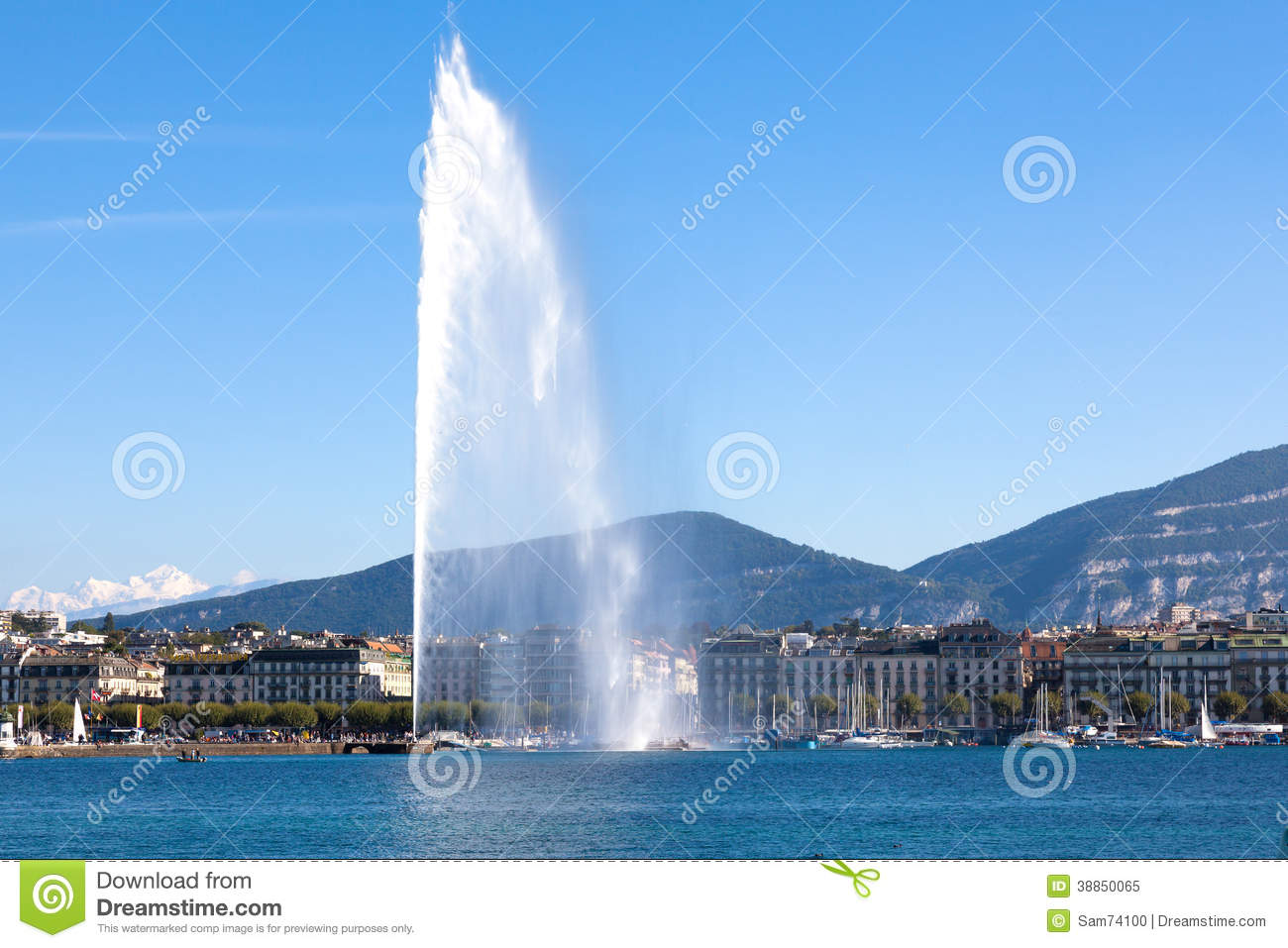Geneva water fountain stock image of town leman