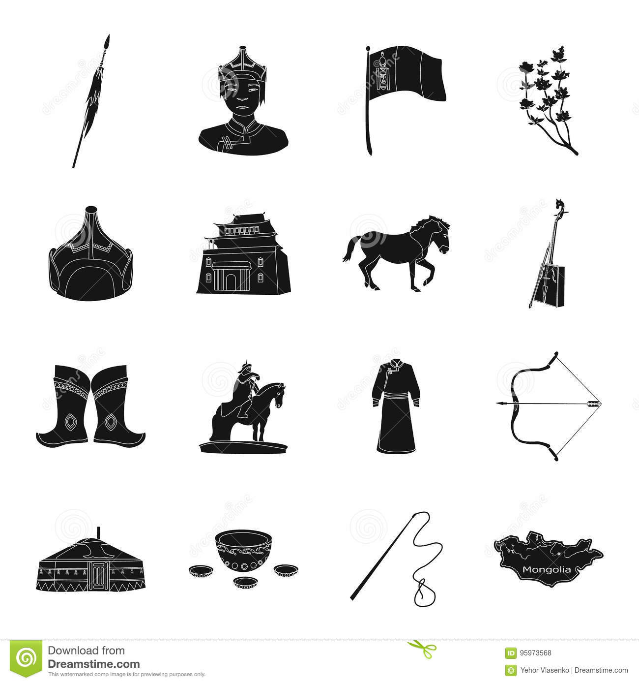Genghis khan a monastery yurt and other sights of mongolia genghis khan a monastery yurt and other sights of mongolia mongolia set collection icons in black style vector symbol biocorpaavc Images