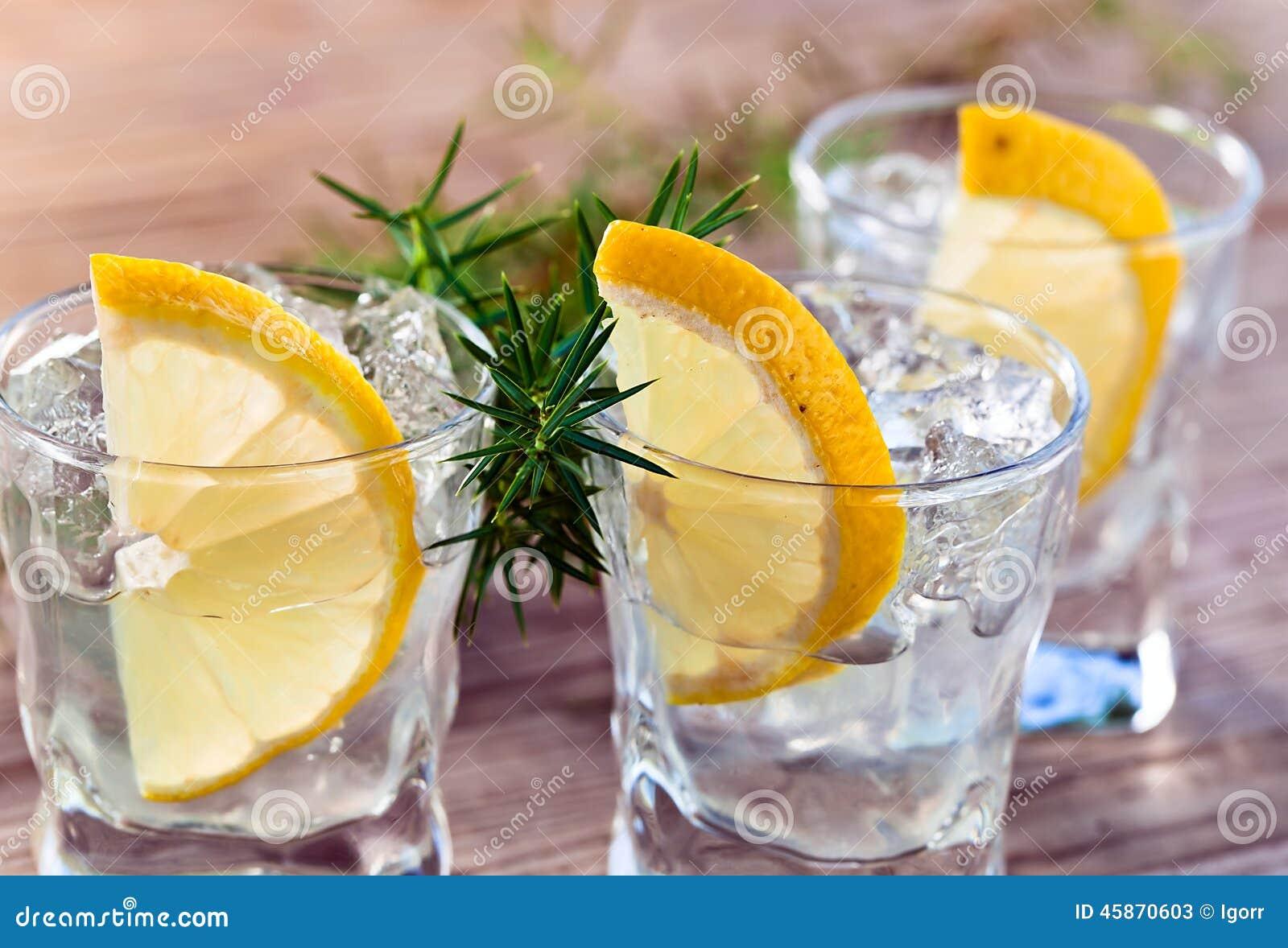 Genièvre avec le citron et la glace
