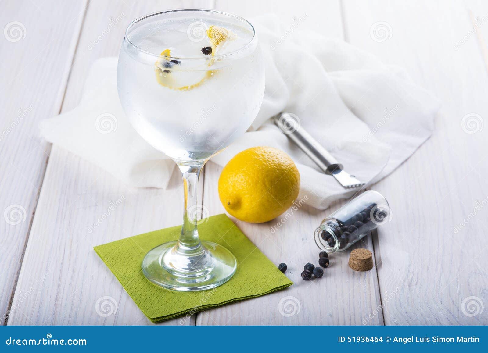 Genièvre et tonique sur un verre de highball
