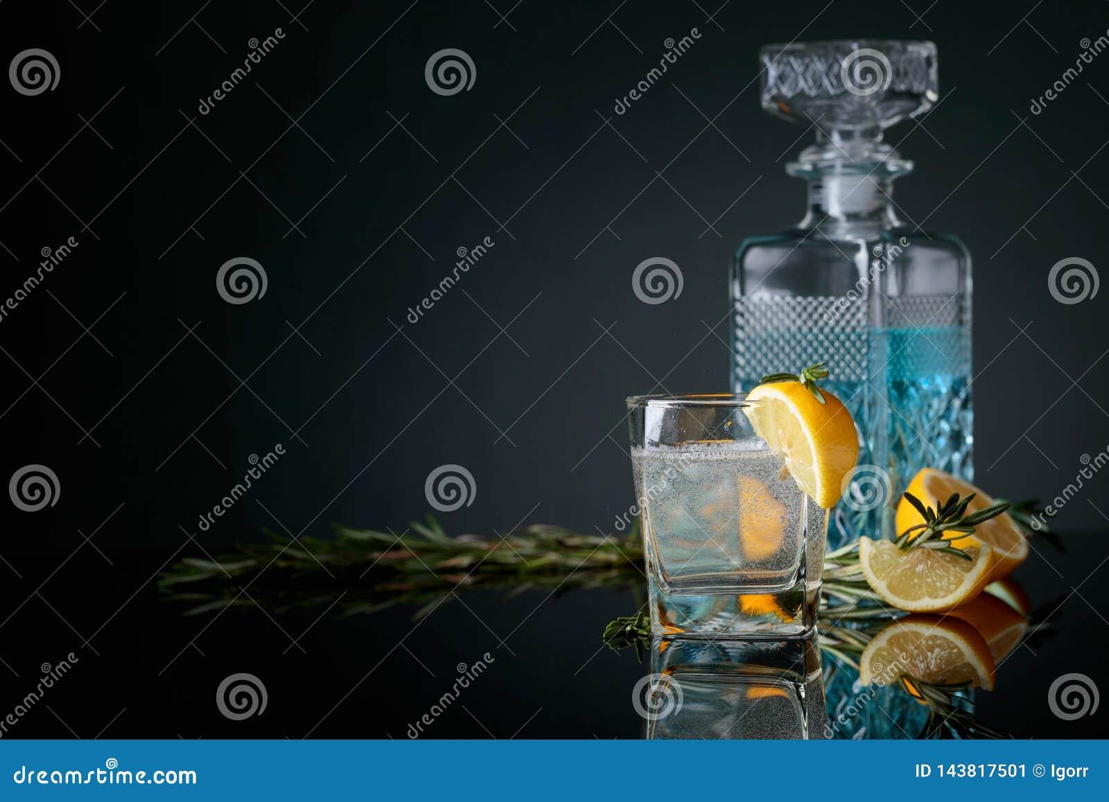 Genièvre-tonique de cocktail avec des tranches de citron et des brindilles de romarin