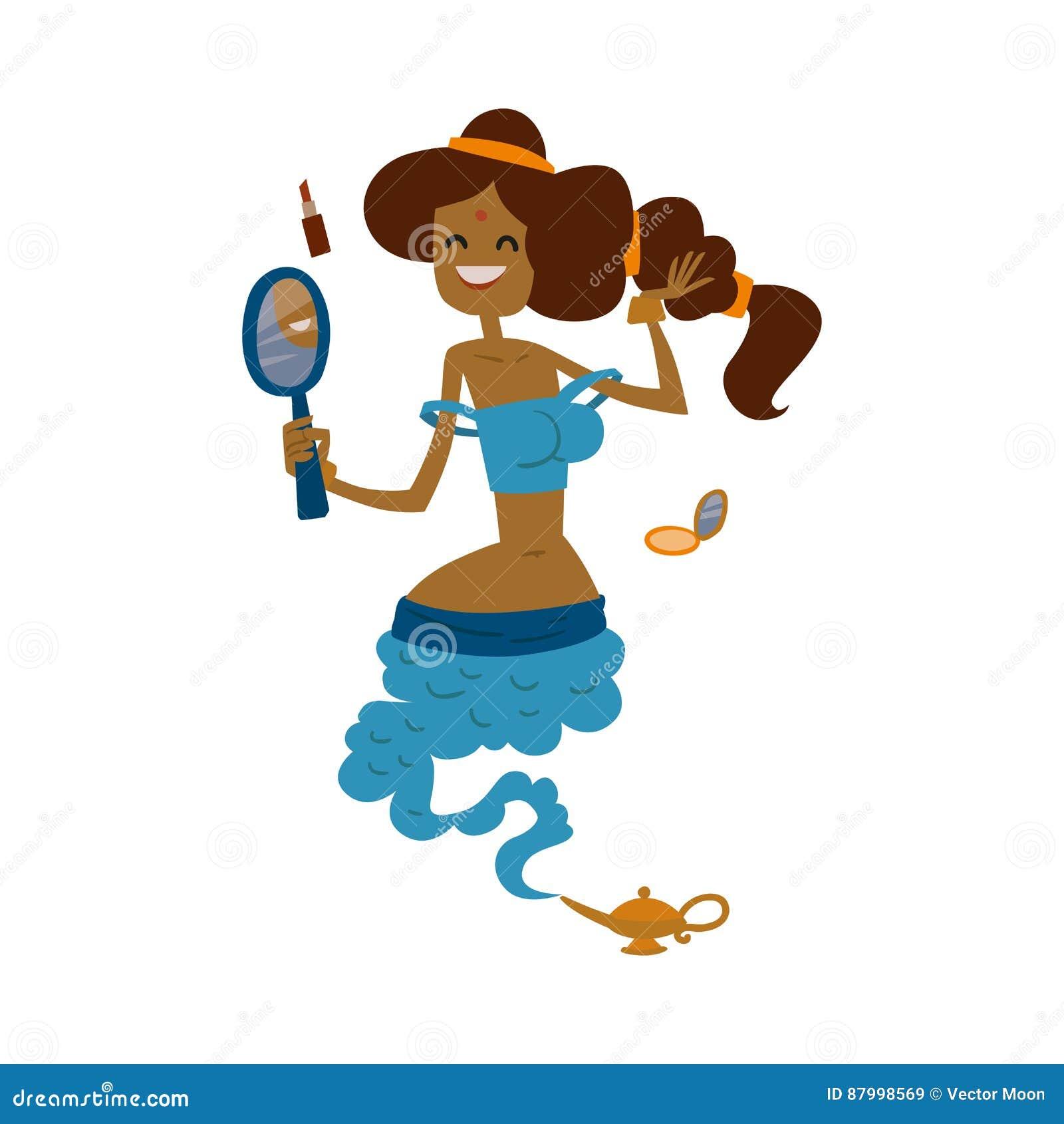 Genie djinn beautiful princess cartoon character magic lamp flat vector illustration treasure arabian aladdin miracle