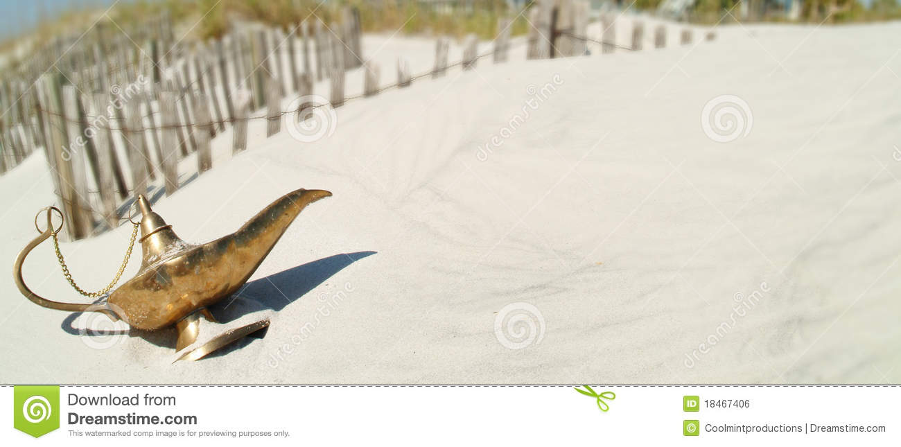 Genie Lamp On Beach Dune V1 Stock Photo