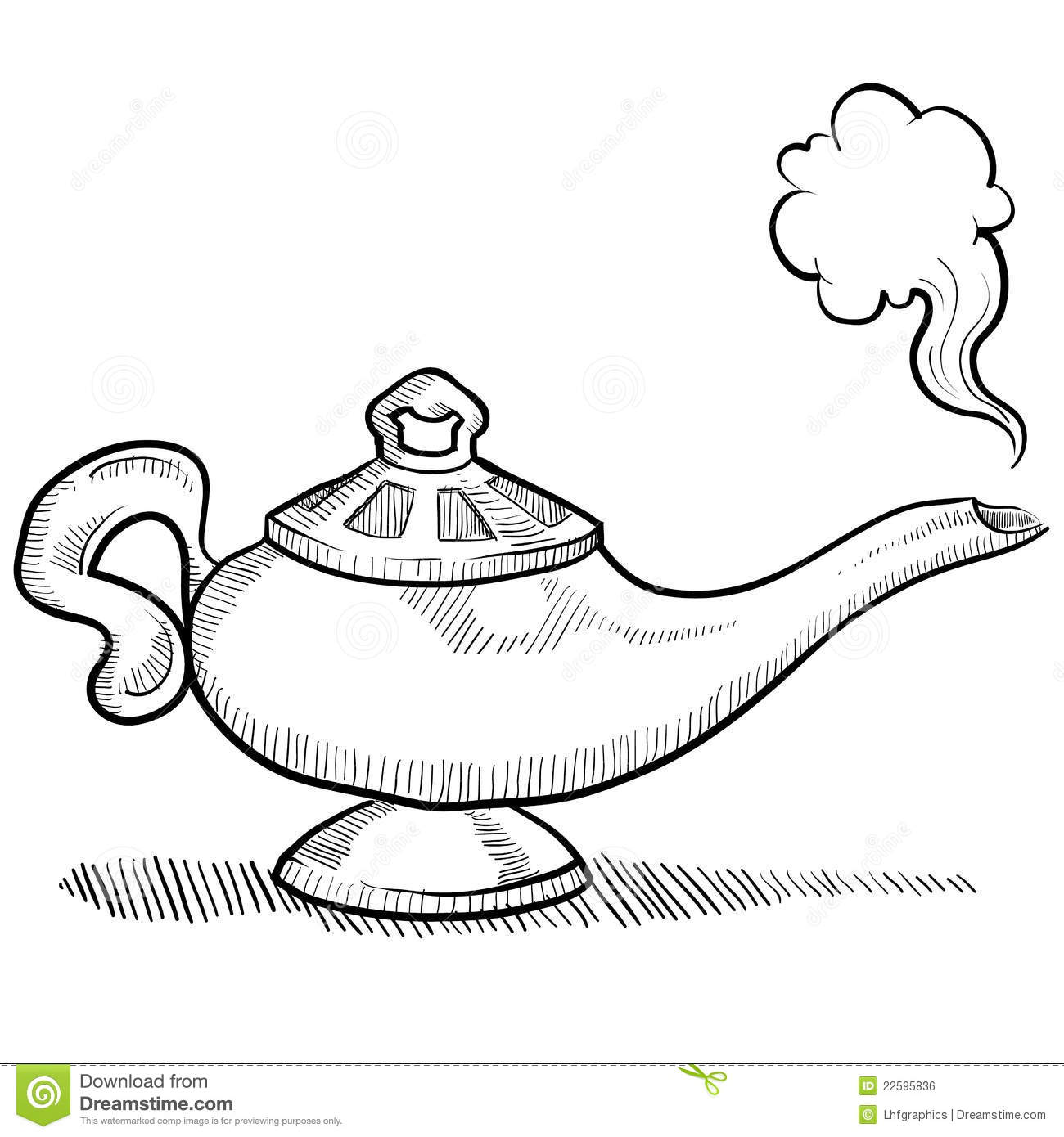 Genie lamp sketch stock vector. Illustration of sketch - 22595836 for Magic Lamp Drawing  284dqh