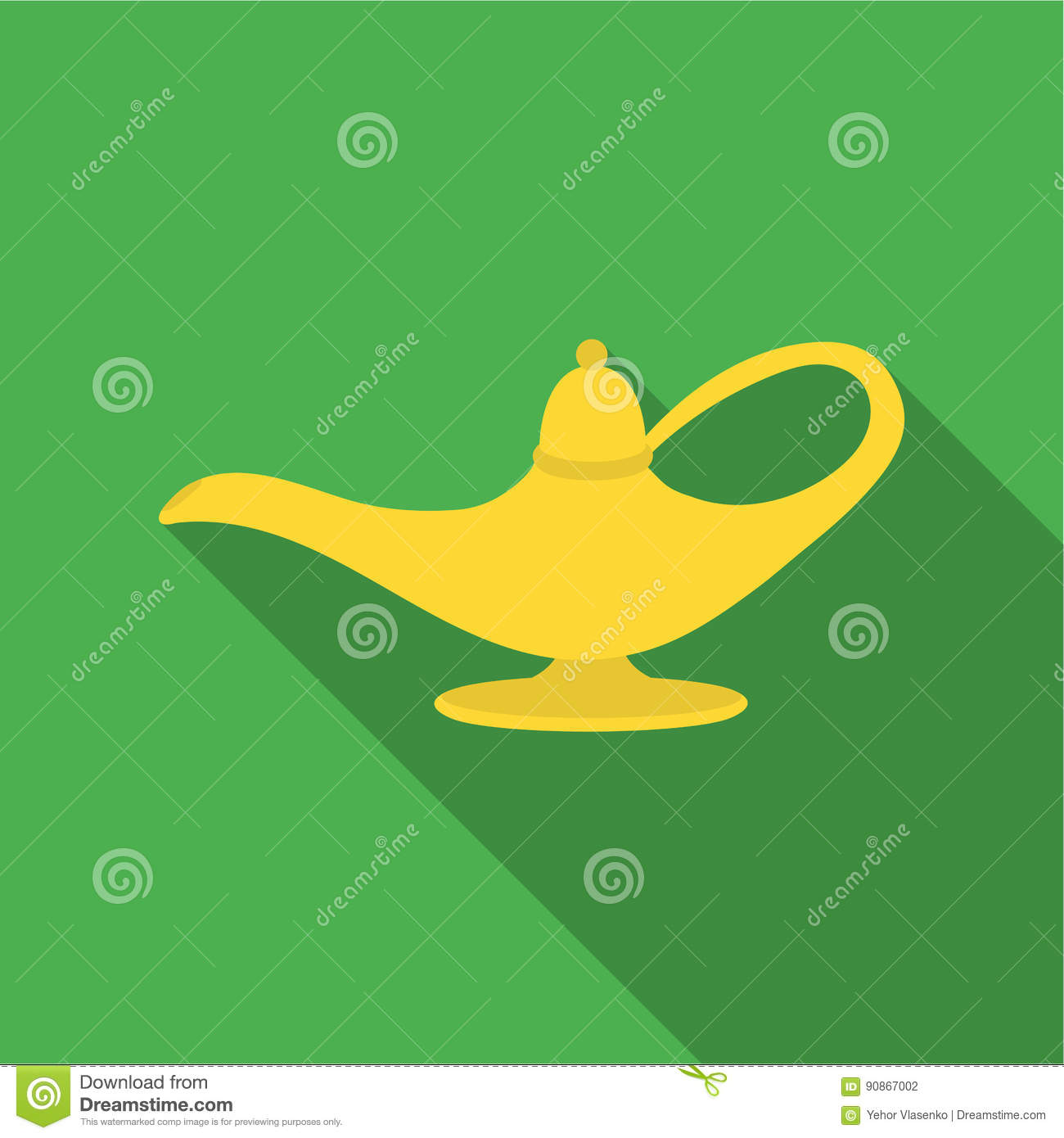 Genie`s lamp icon in flate style on white background. Black and white magic symbol stock vector illustration.
