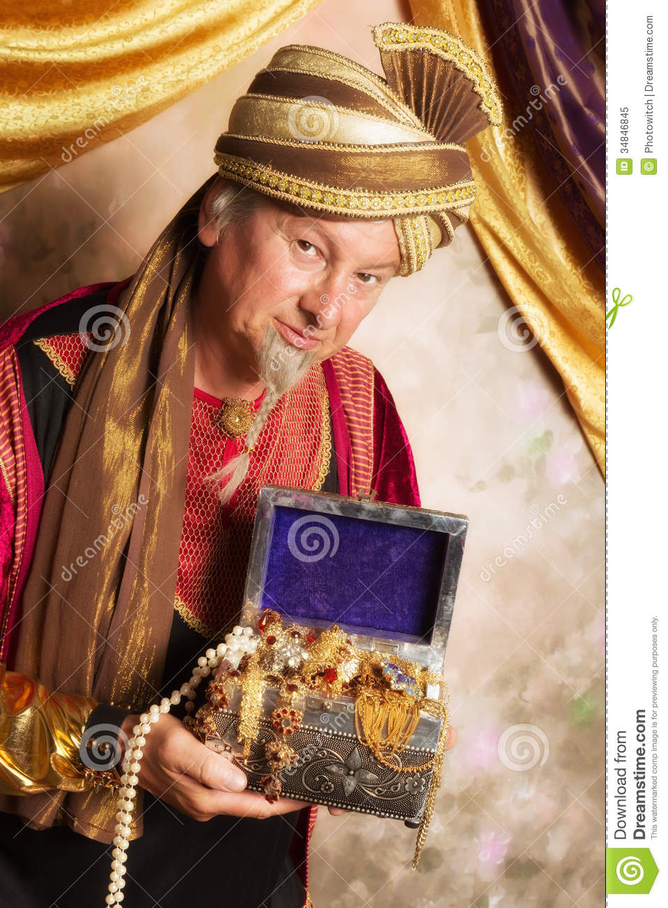 Genie With Treasure Chest Royalty Free Stock Photo Image