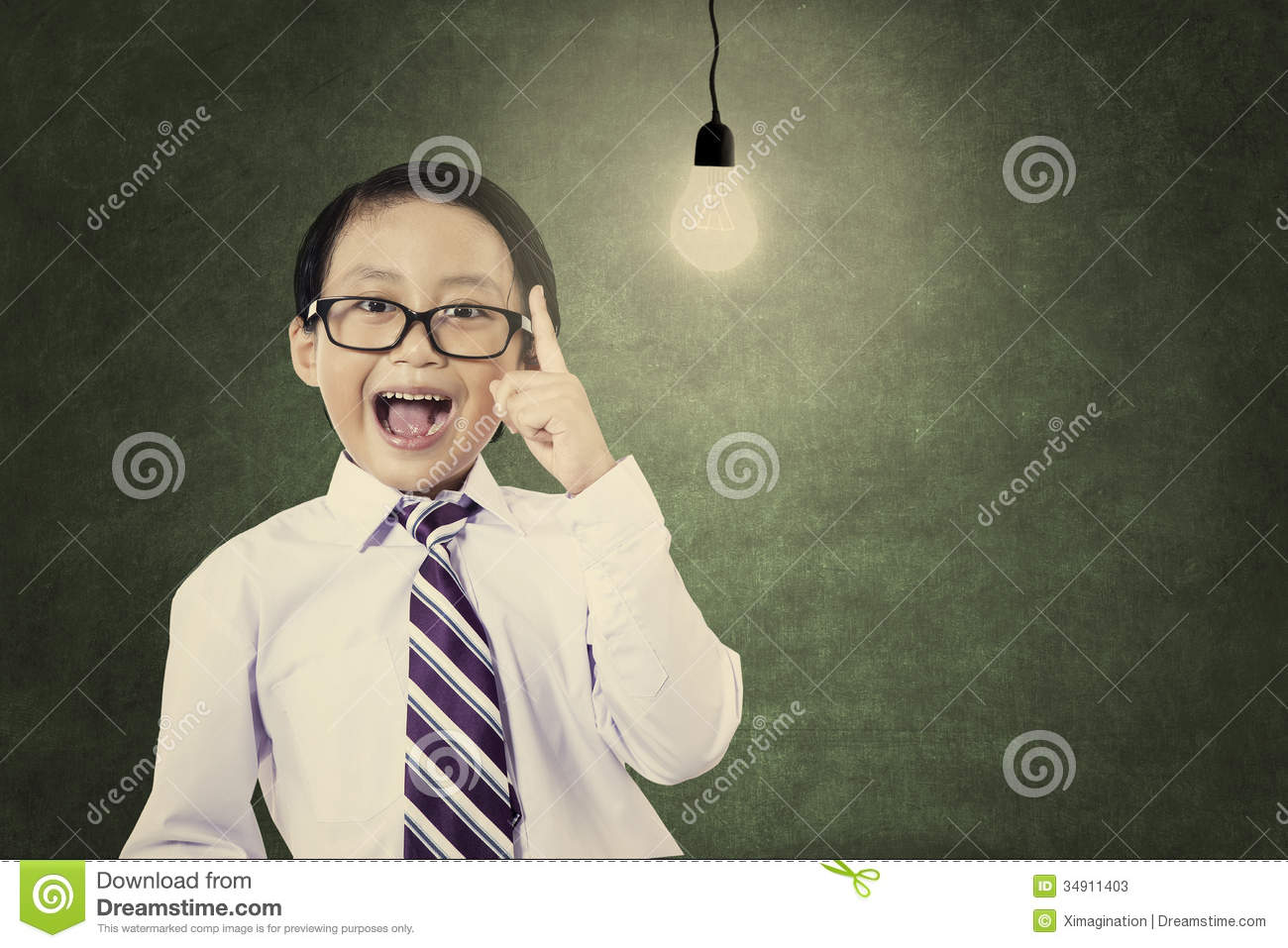 Classroom Design Clipart ~ Genius schoolboy with light bulb stock photos image