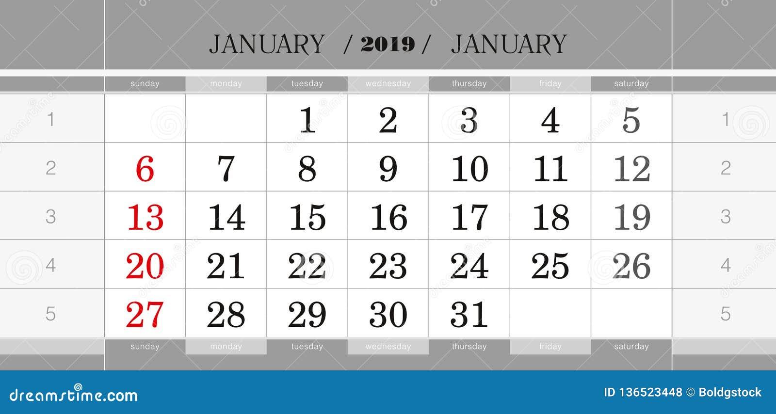Calendario Trimestrali.Gennaio 2019 Blocchetto Di Calendario Trimestrale Calendario