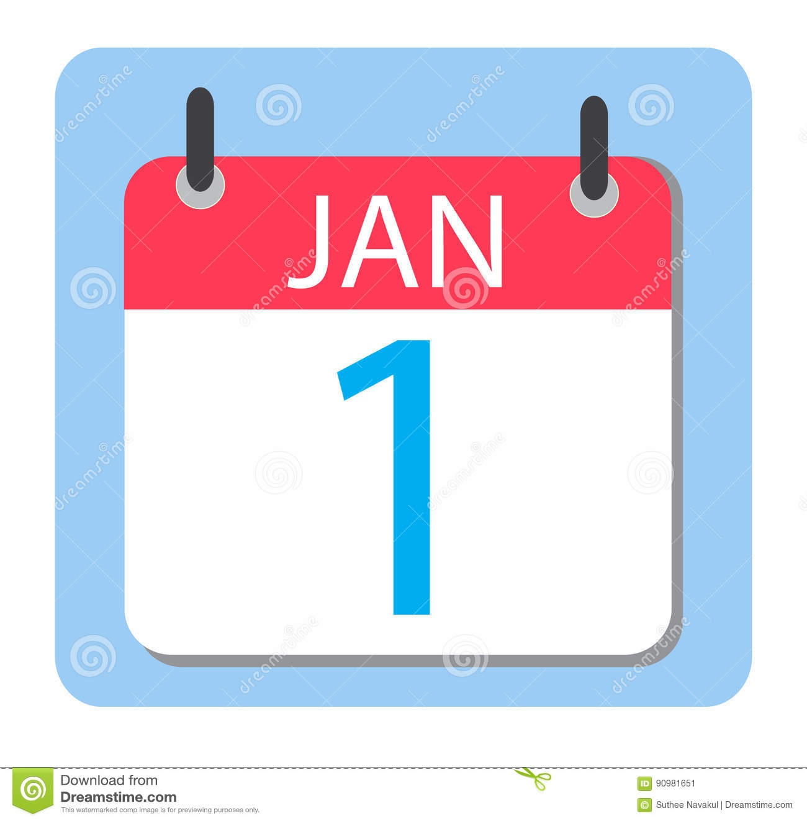 Calendario Icona.1 Gennaio Calendario Icona Rossa Del Calendario