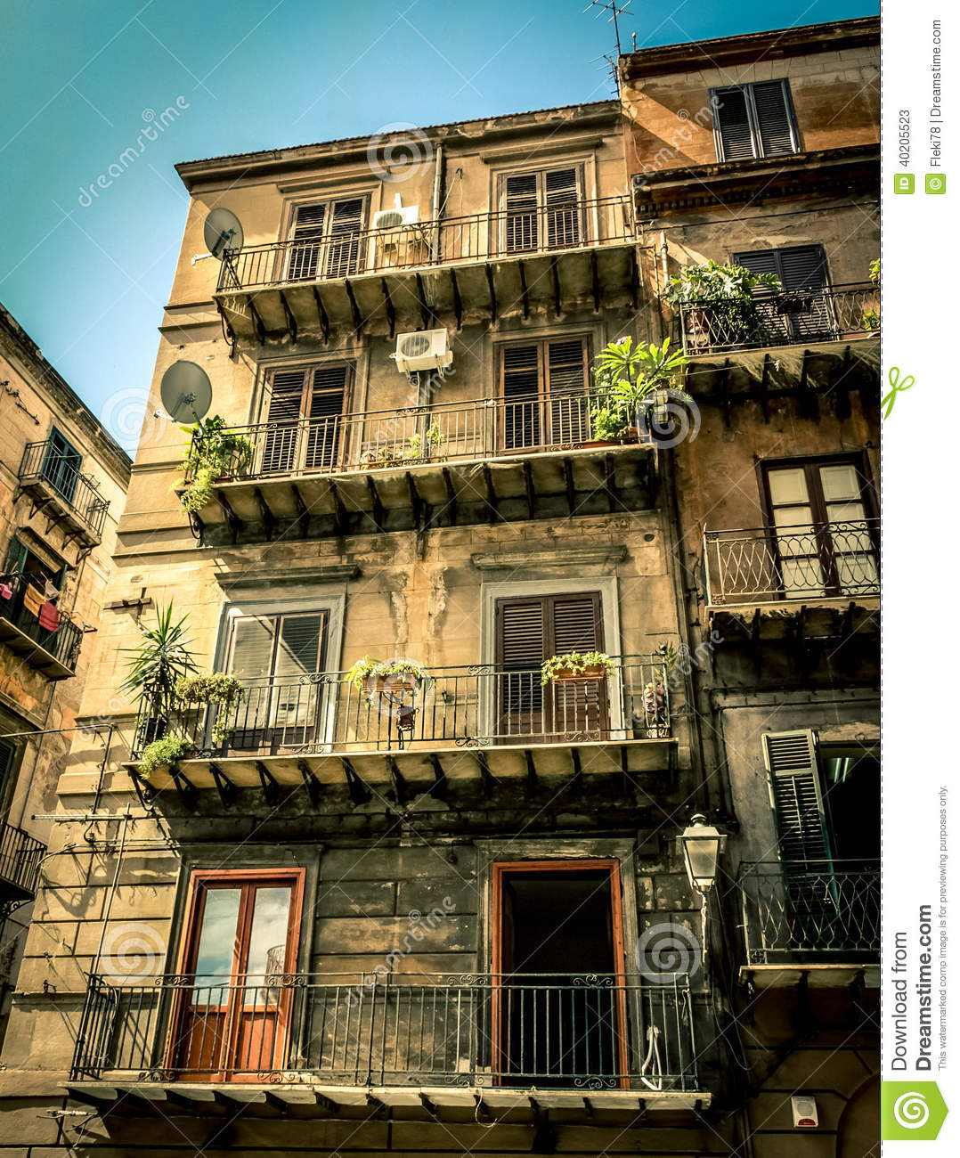 Old house in Palermo stock image. Image of mediterranean ...