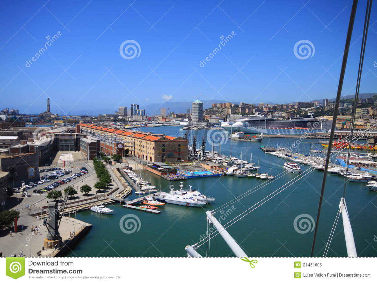 Genoa, Italy-Bird s eye view of the antique harbor