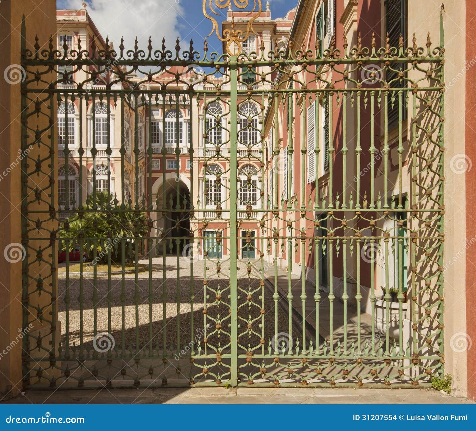Genoa, Italy - Royal Palace, View Fron The Garden Gate Stock Photo ...