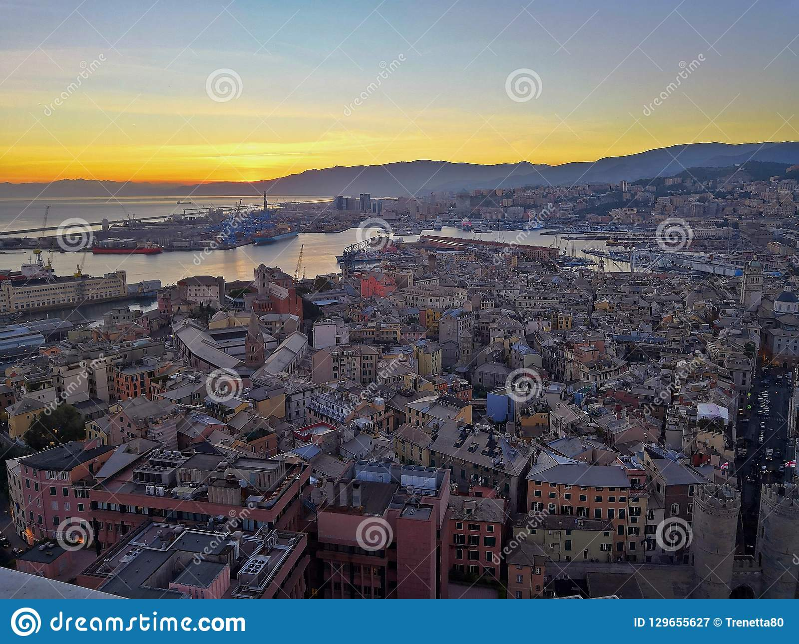 Genoa Landscape From Terrazza Colombo Stock Image Image Of