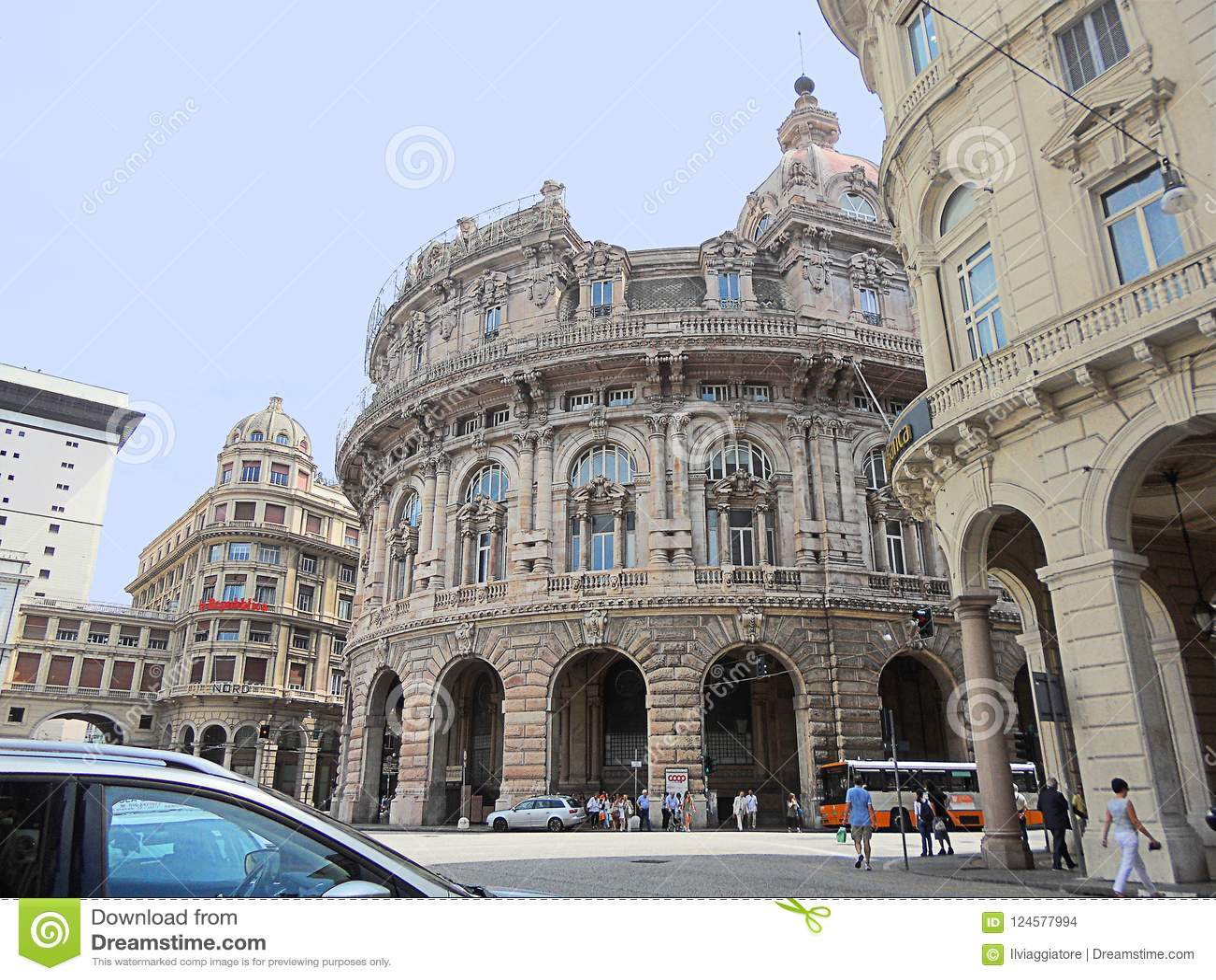 Genoa, Liguria, Italy, Stock Exchange Building, From Below ...