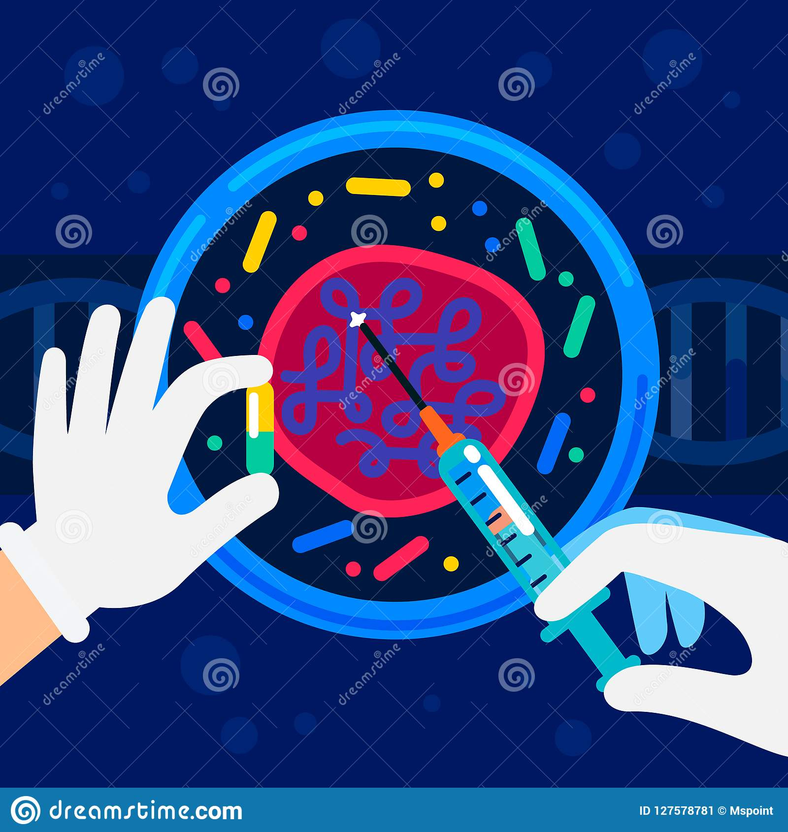 Genoma que ordena concepto Laboratorio de la nanotecnología y de la bioquímica Las manos de un científico que trabaja con una hél