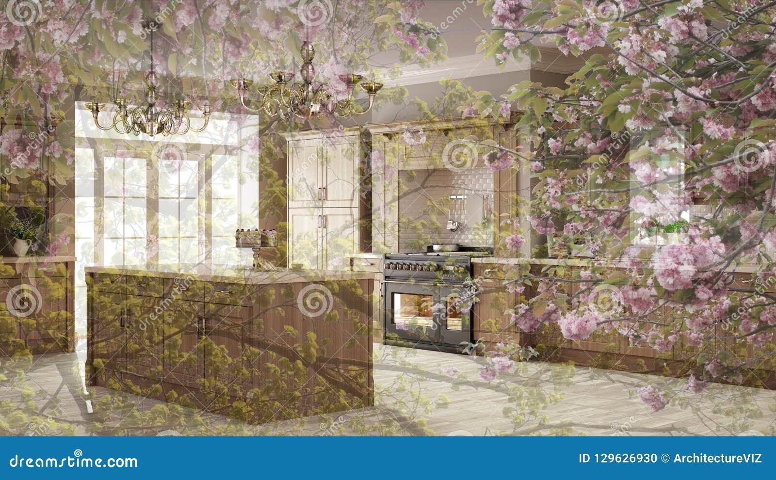 Genomskinlig blom- bakgrund, över klassiskt kök, scandinavian minsta begreppsinre