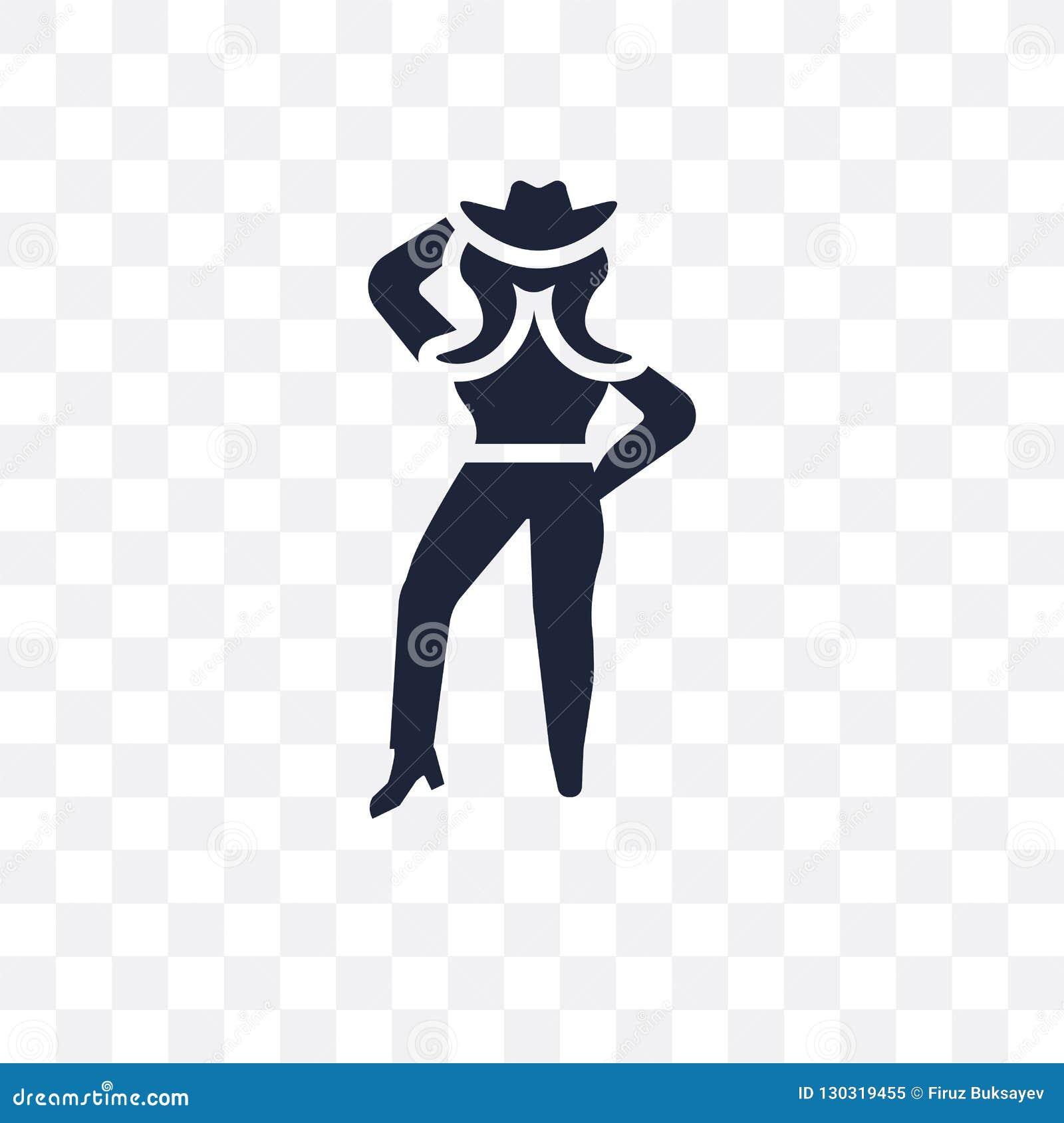Genomskinlig symbol för cowgirl Cowgirlsymboldesign från ökencoll