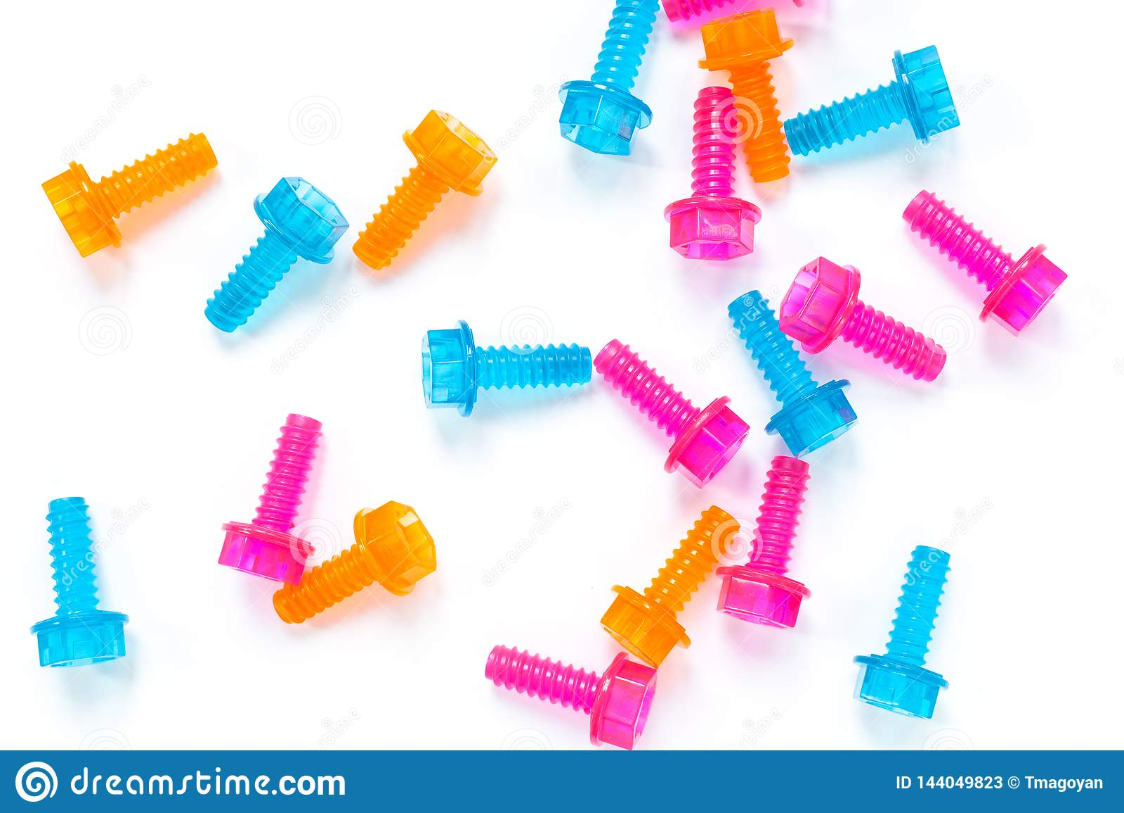 Genomskinliga plast- leksakbultar för kulört neon på vit bakgrund Lekmanna- lägenhet Begreppsvärldsfarsas dag, unisex- leksaker