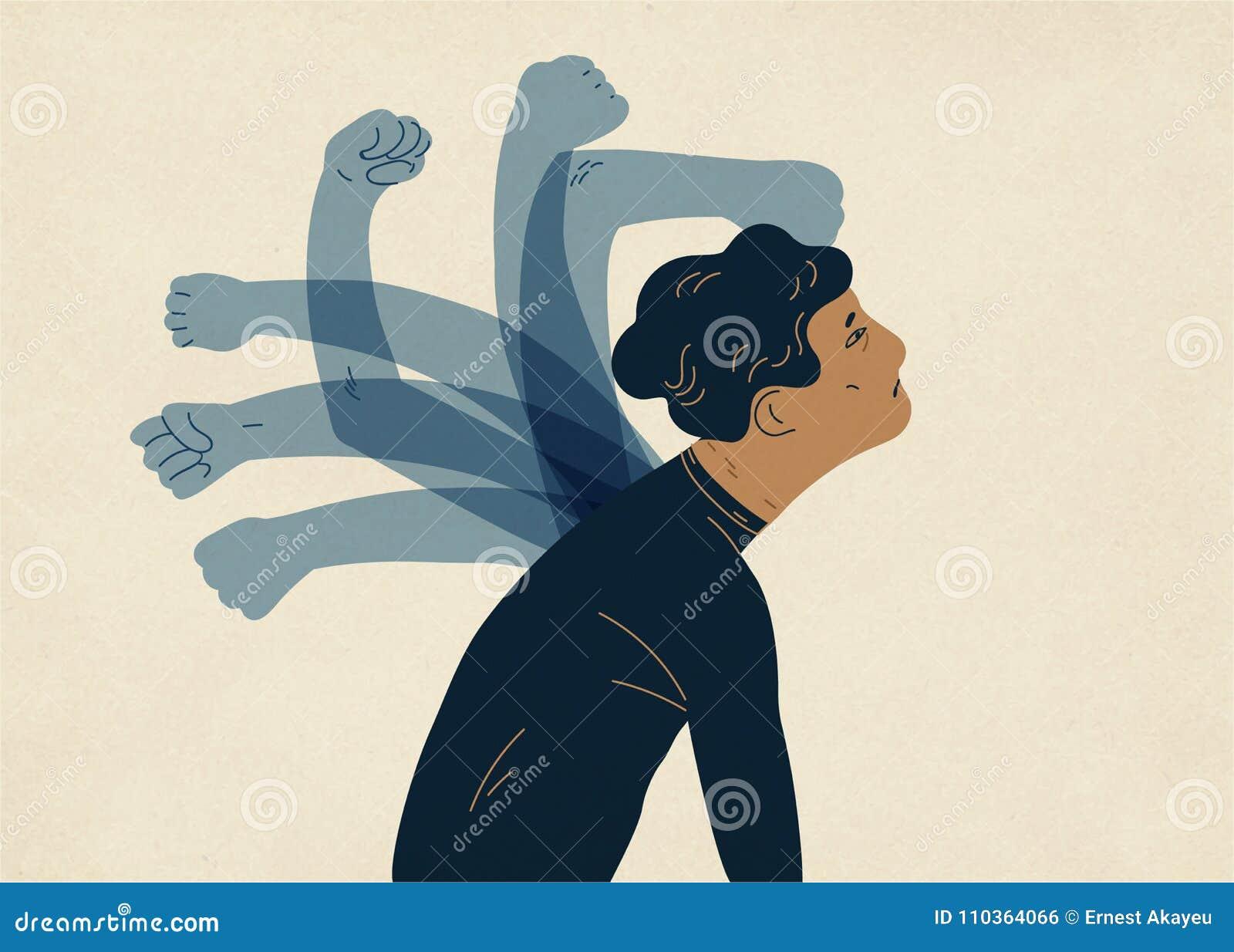 Genomskinliga spöklika händer som slår mannen Begrepp av psykologisk själv-flagellation, själv-bestraffning, själv-förnedring, sj