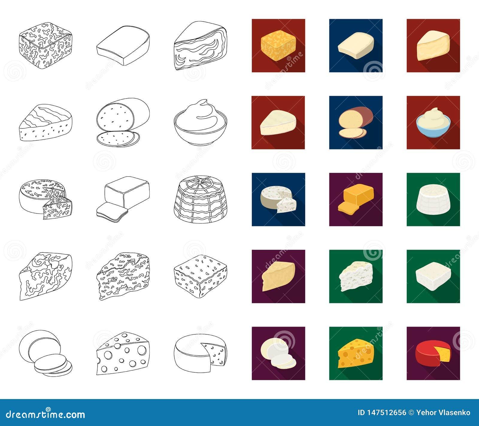 Genre différent de contour de fromage, icônes plates dans la collection réglée pour la conception Web d actions de symbole de vec