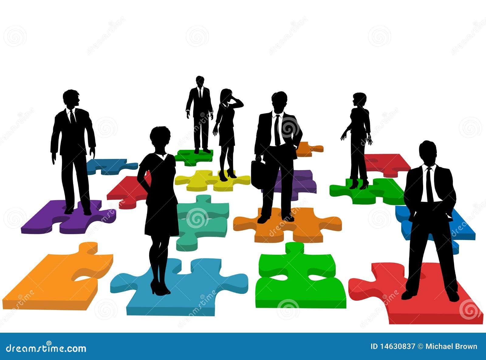 Gens d affaires de ressources humaines de puzzle d équipe