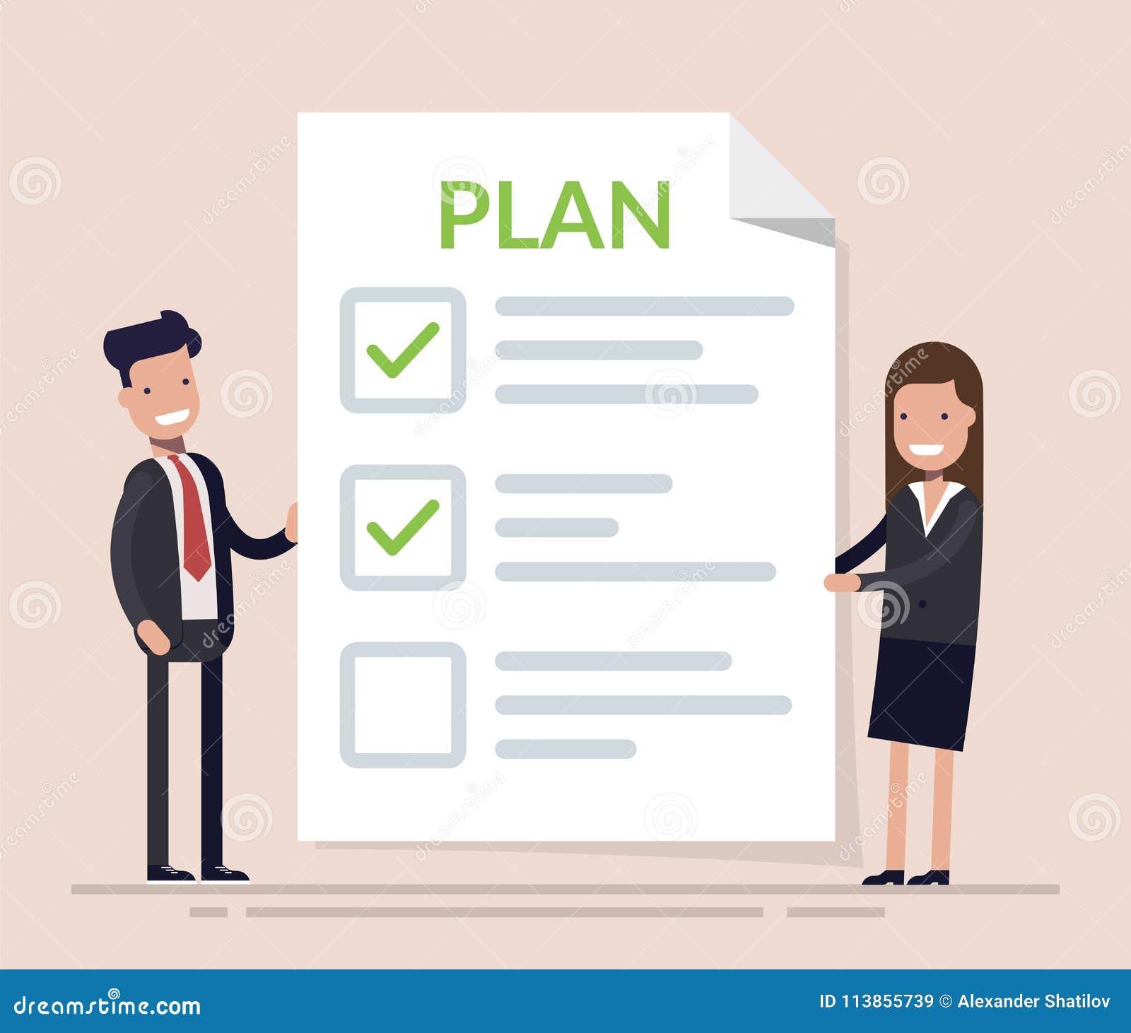 Gens d affaires, homme et femme se tenant avec le grand presse-papiers et le plan d action de concept de liste de contrôle dans l