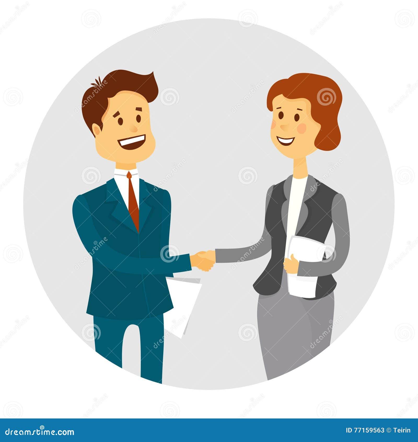 Gens d affaires se serrant la main, finissant une réunion Illustration de vecteur