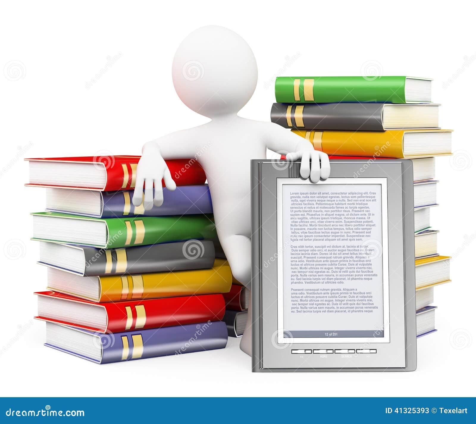 Gens du blanc 3d Concept de lecteur d Ebook