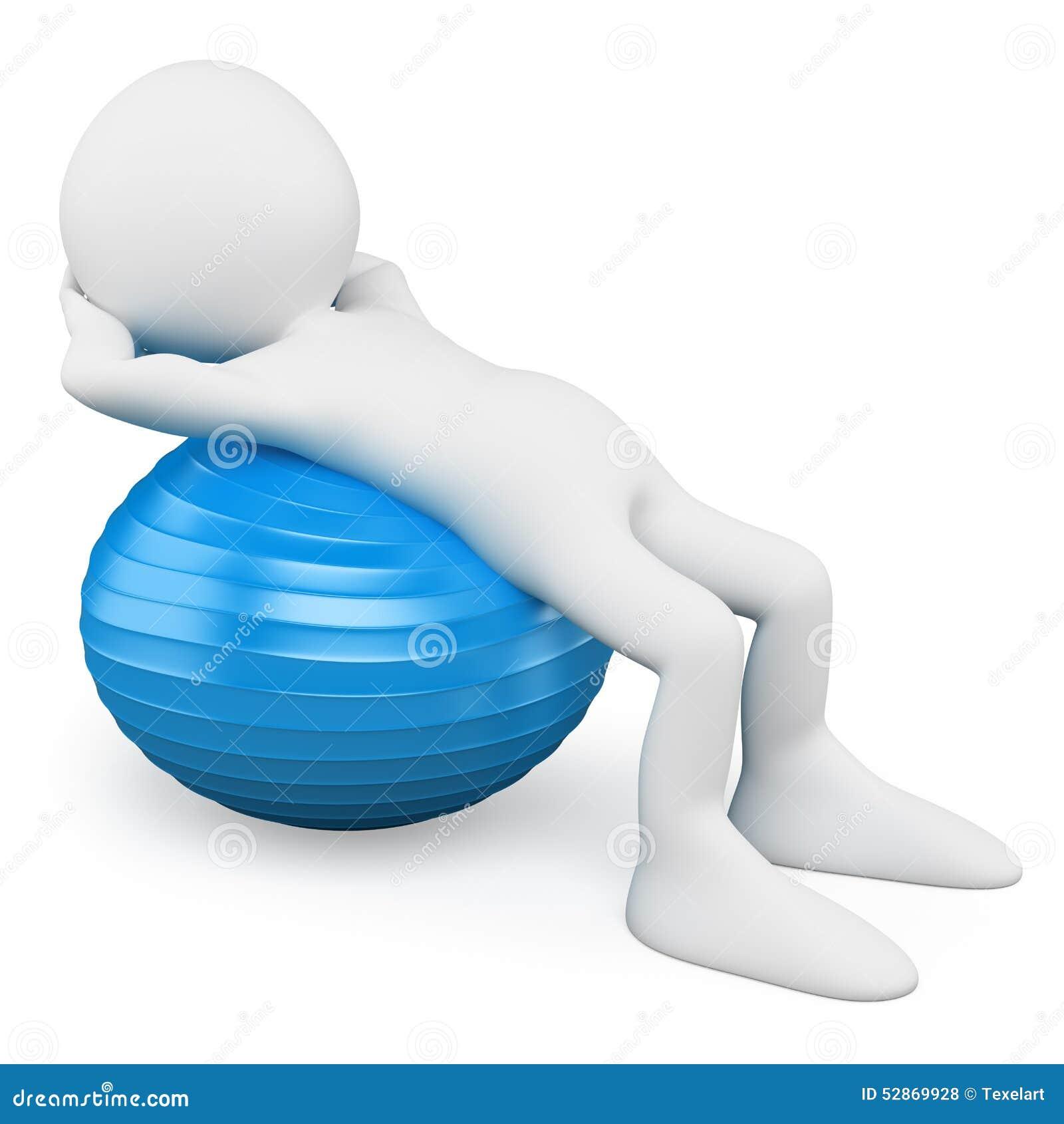 Gens du blanc 3d Homme s exerçant avec une boule d aérobic