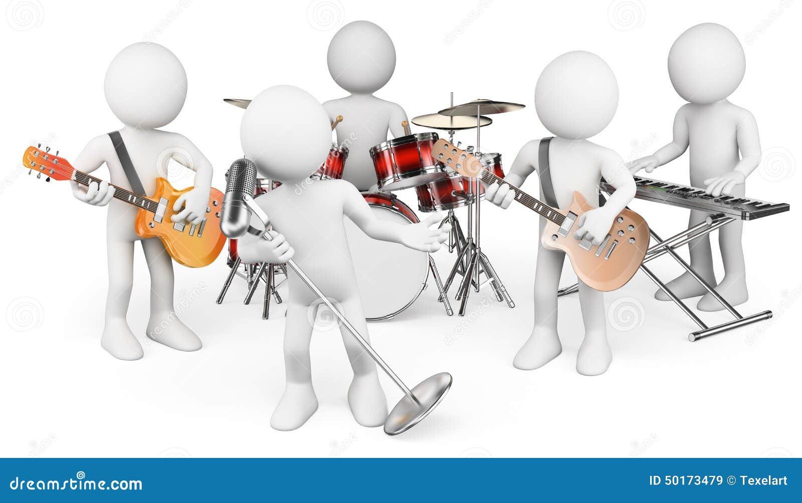 Gens du blanc 3d Jouer de groupe de musique vivant